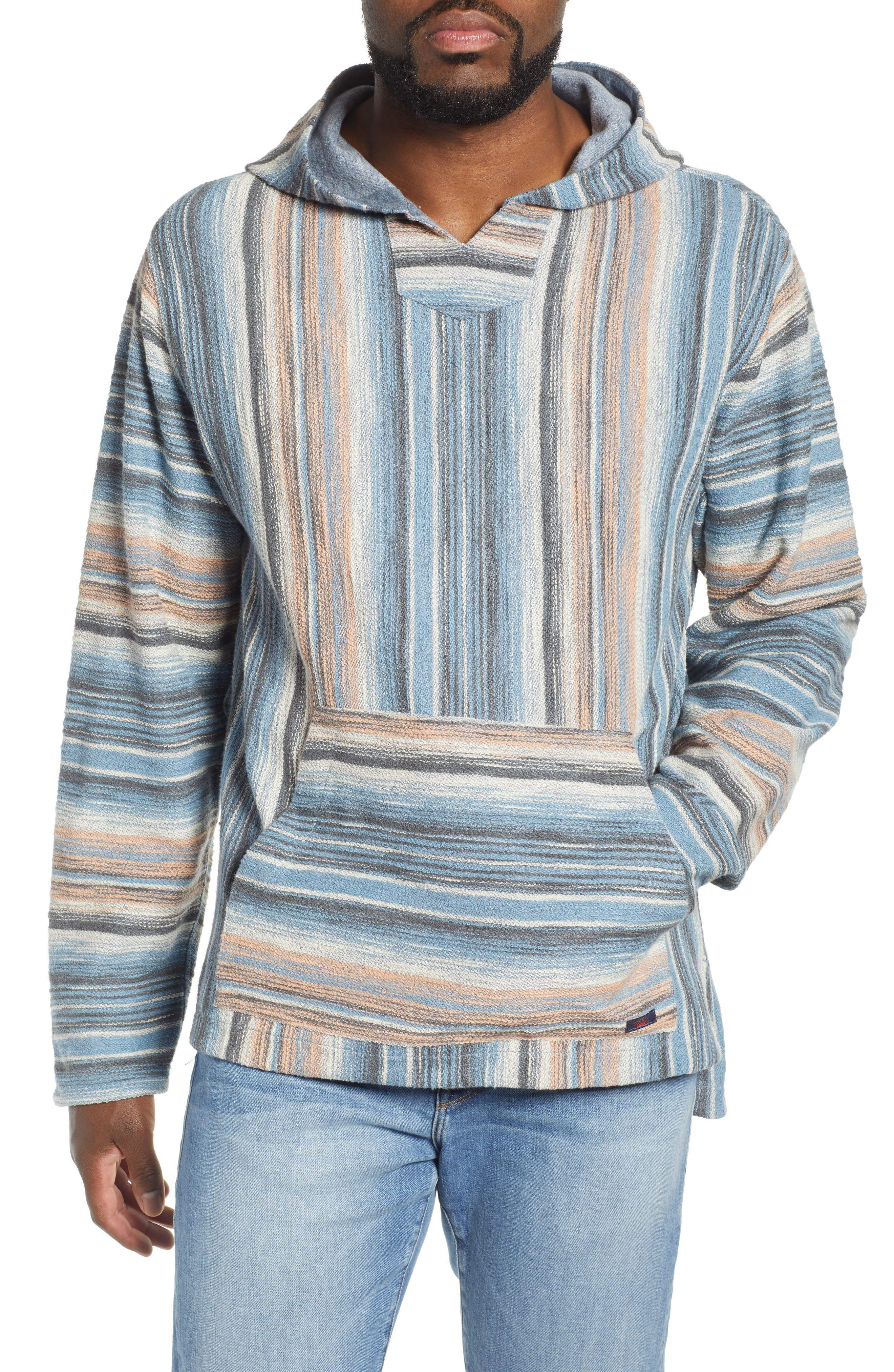 Faherty Reversible Terry Poncho, Blue