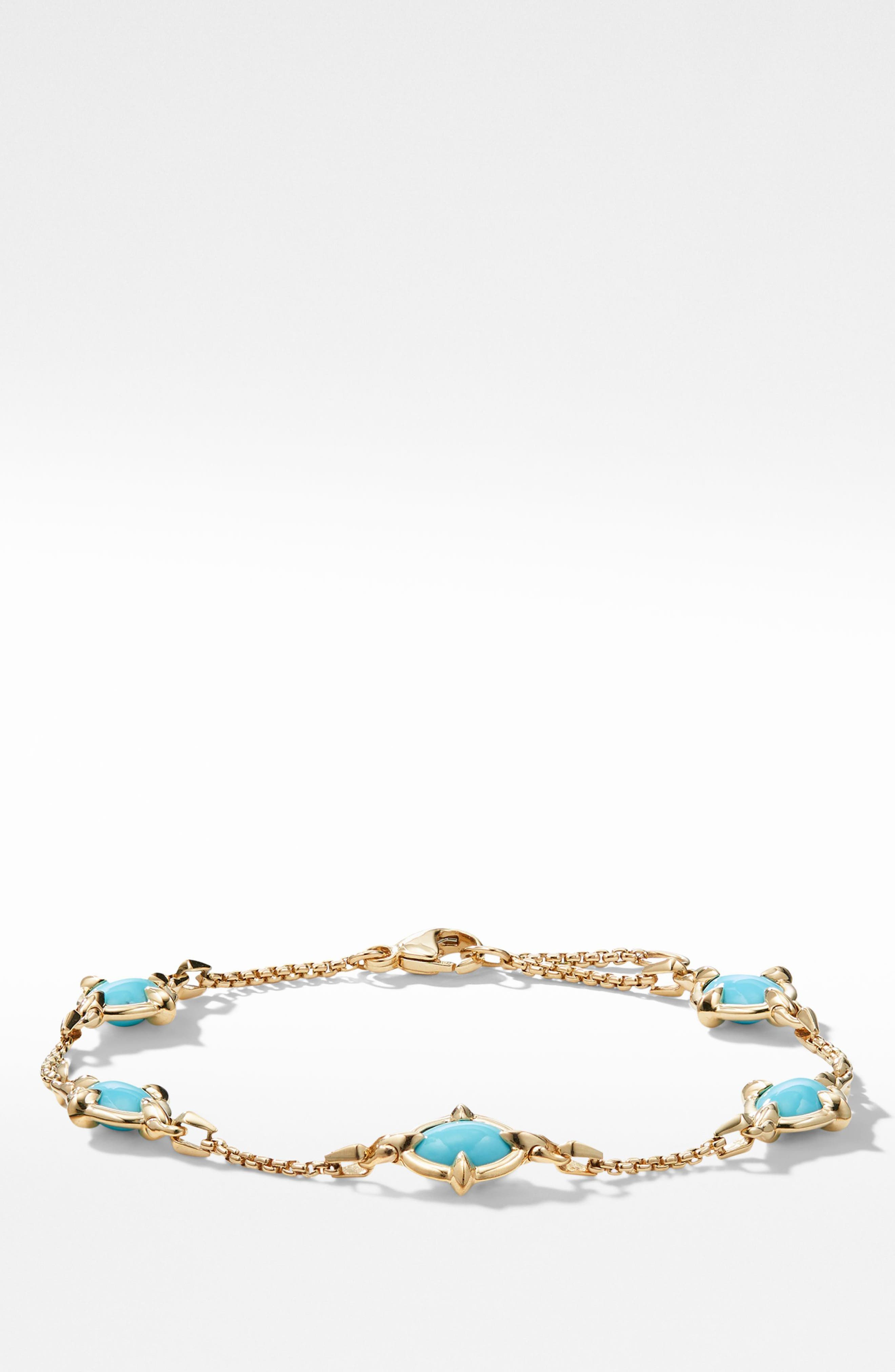 Chatelaine<sup>®</sup> Chain Bracelet in 18K Gold with Turquoise,                         Main,                         color, 440