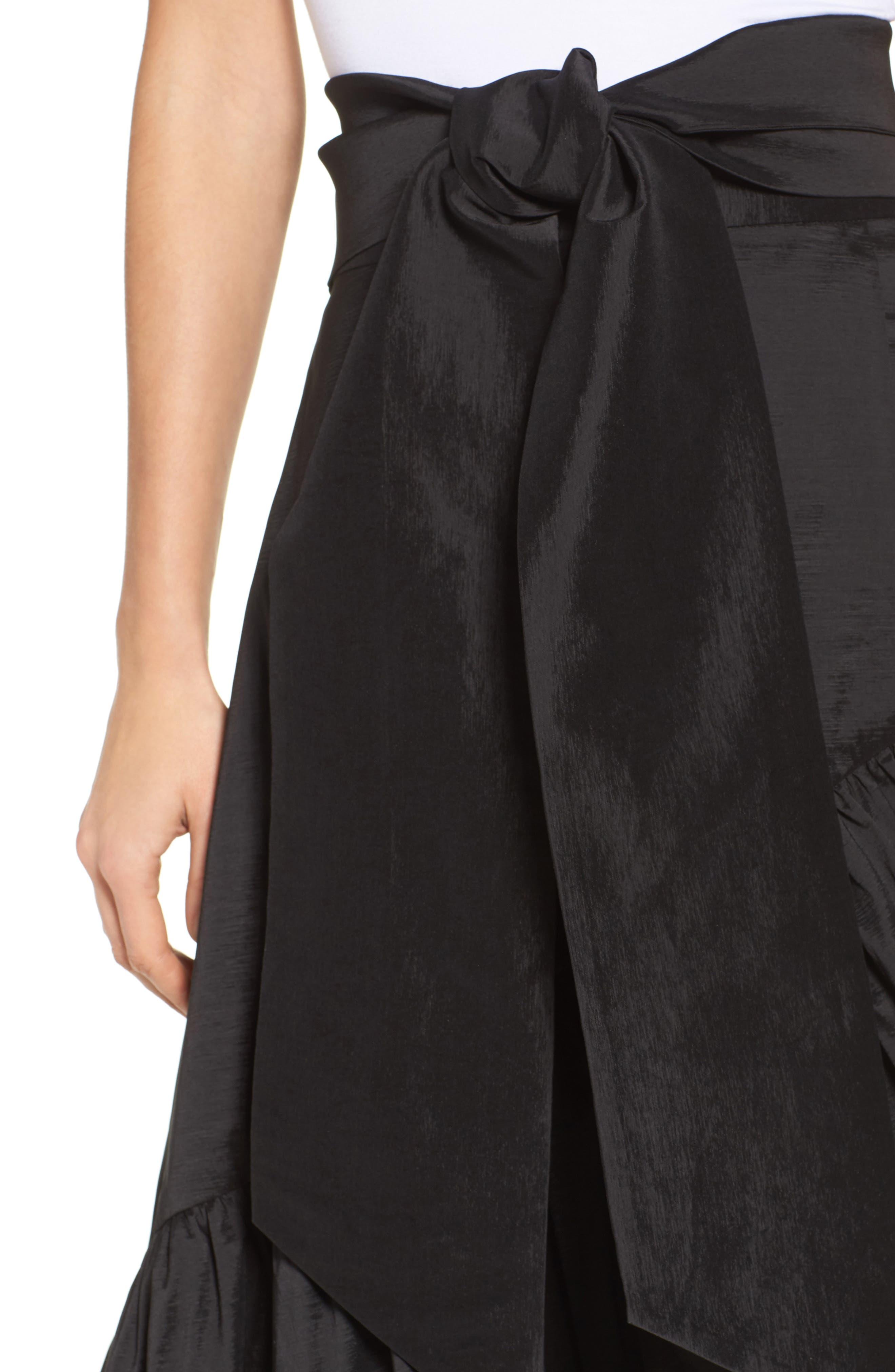 Faux Wrap Skirt,                             Alternate thumbnail 4, color,                             001