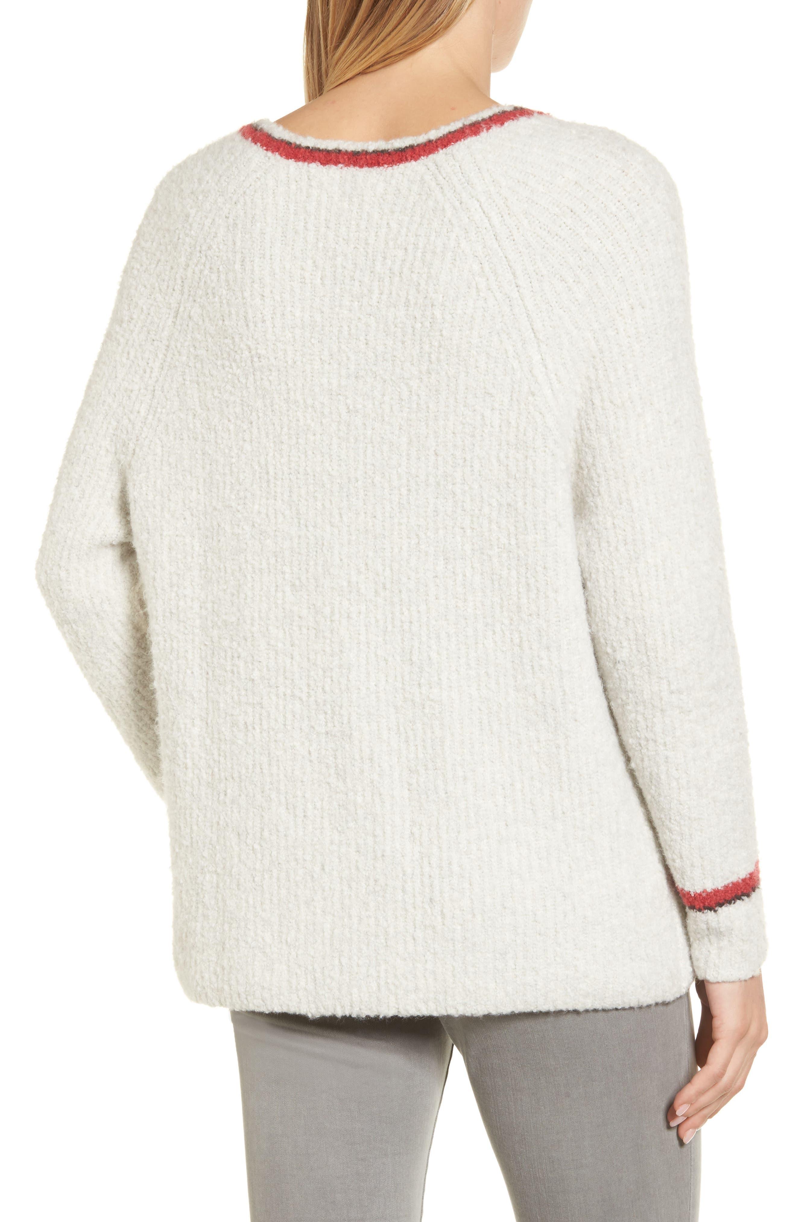 Bouclé V-neck Sweater,                             Alternate thumbnail 2, color,                             905