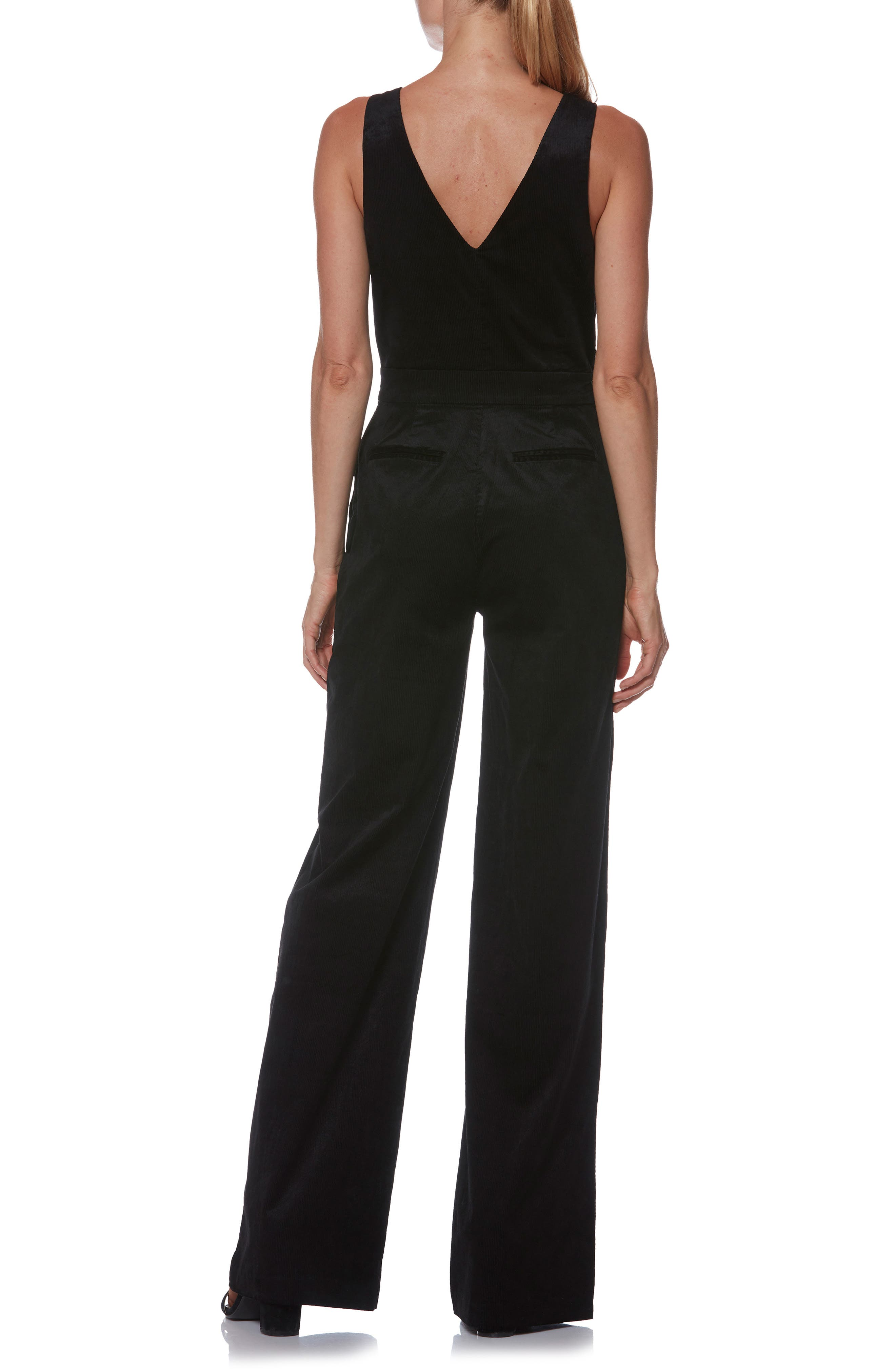 Sienne Corduroy Jumpsuit,                             Alternate thumbnail 2, color,                             BLACK