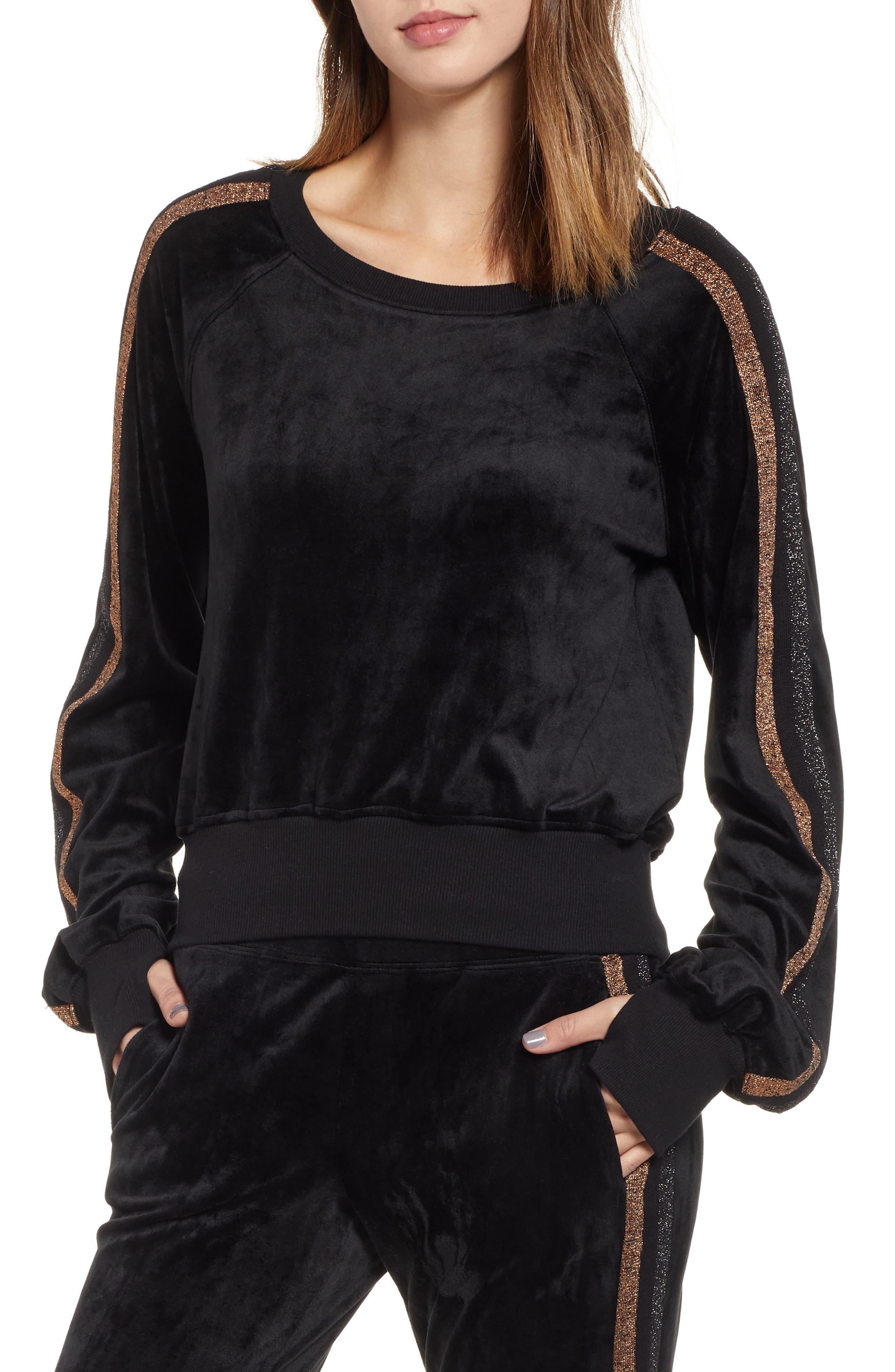 Crop Stripe Sleeve Sweatshirt,                         Main,                         color, BLACK