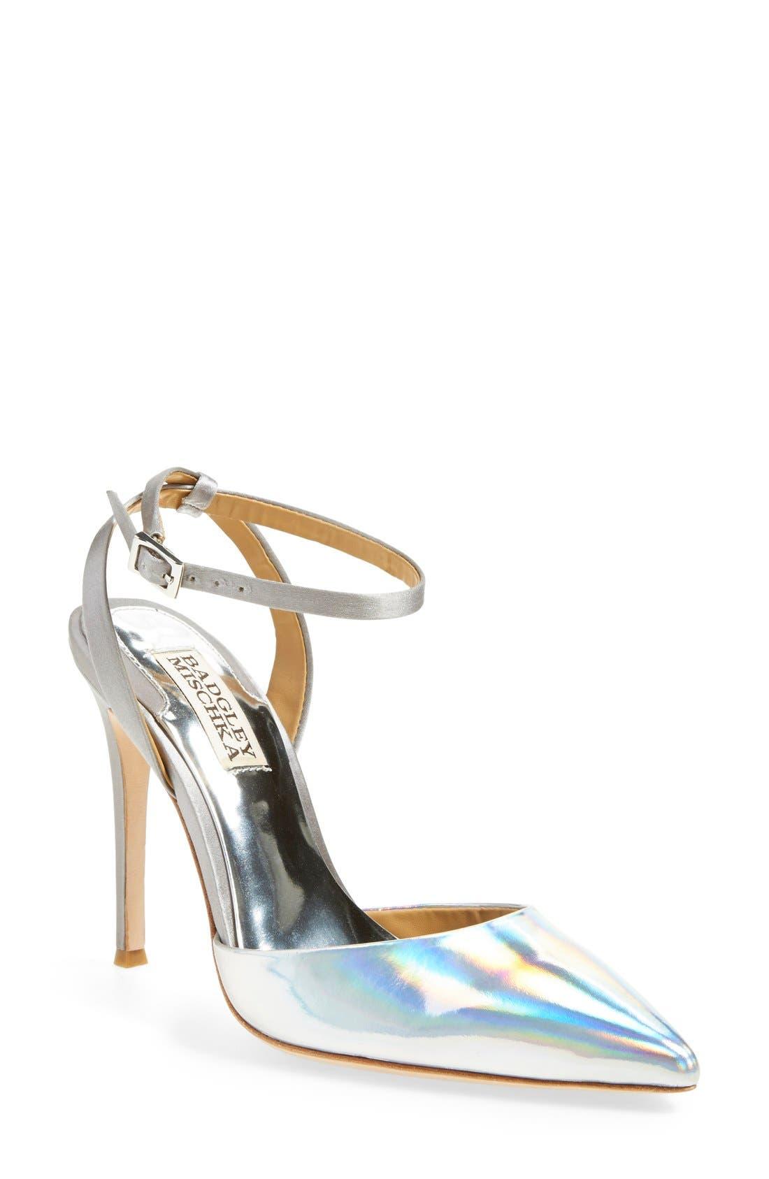 'Presto' Ankle Strap Pointy Toe Pump,                         Main,                         color, 040