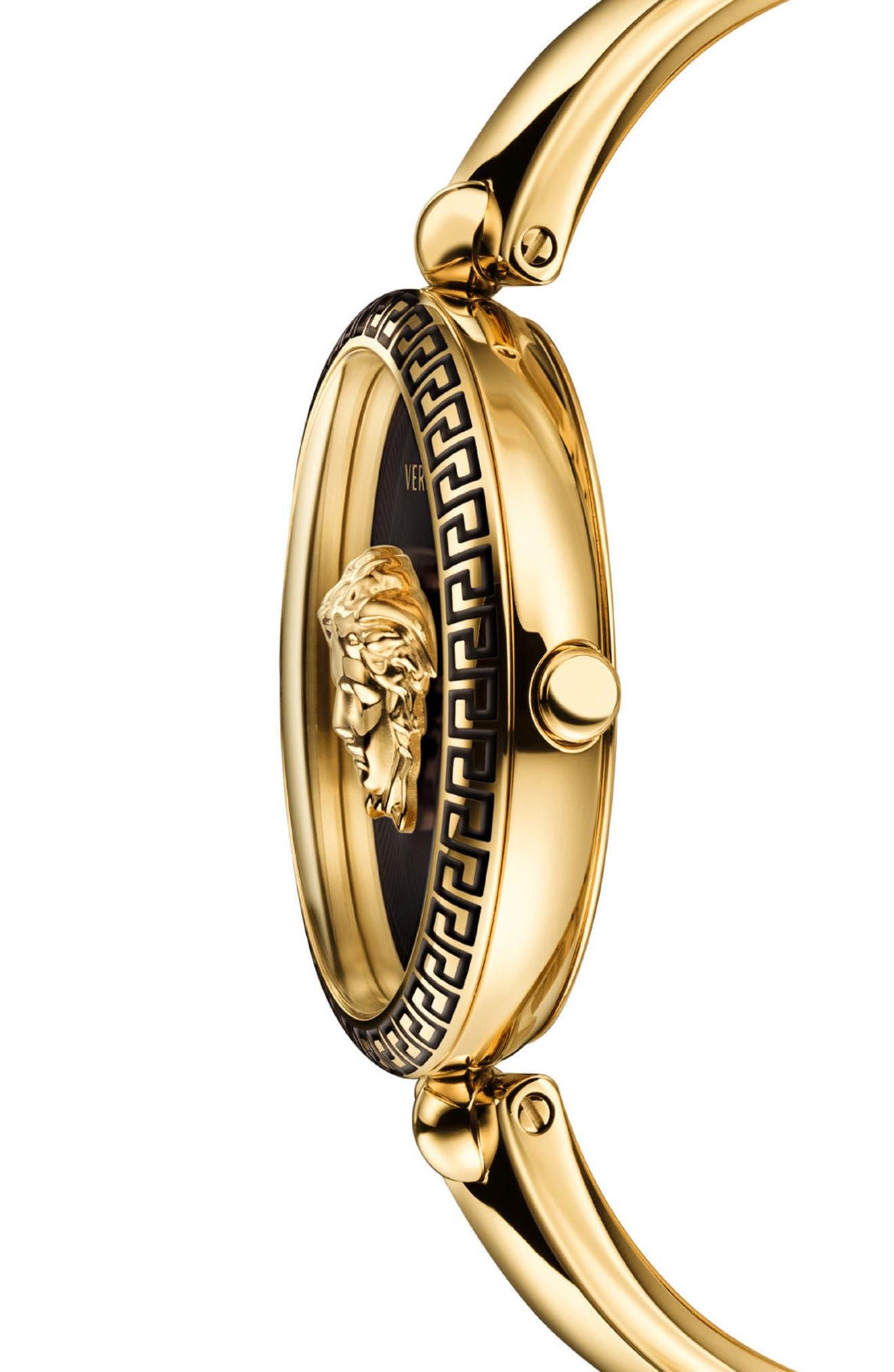 Palazzo Empire Semi Bangle Bracelet Watch, 39mm,                             Alternate thumbnail 3, color,                             GOLD/ BLACK/ GOLD