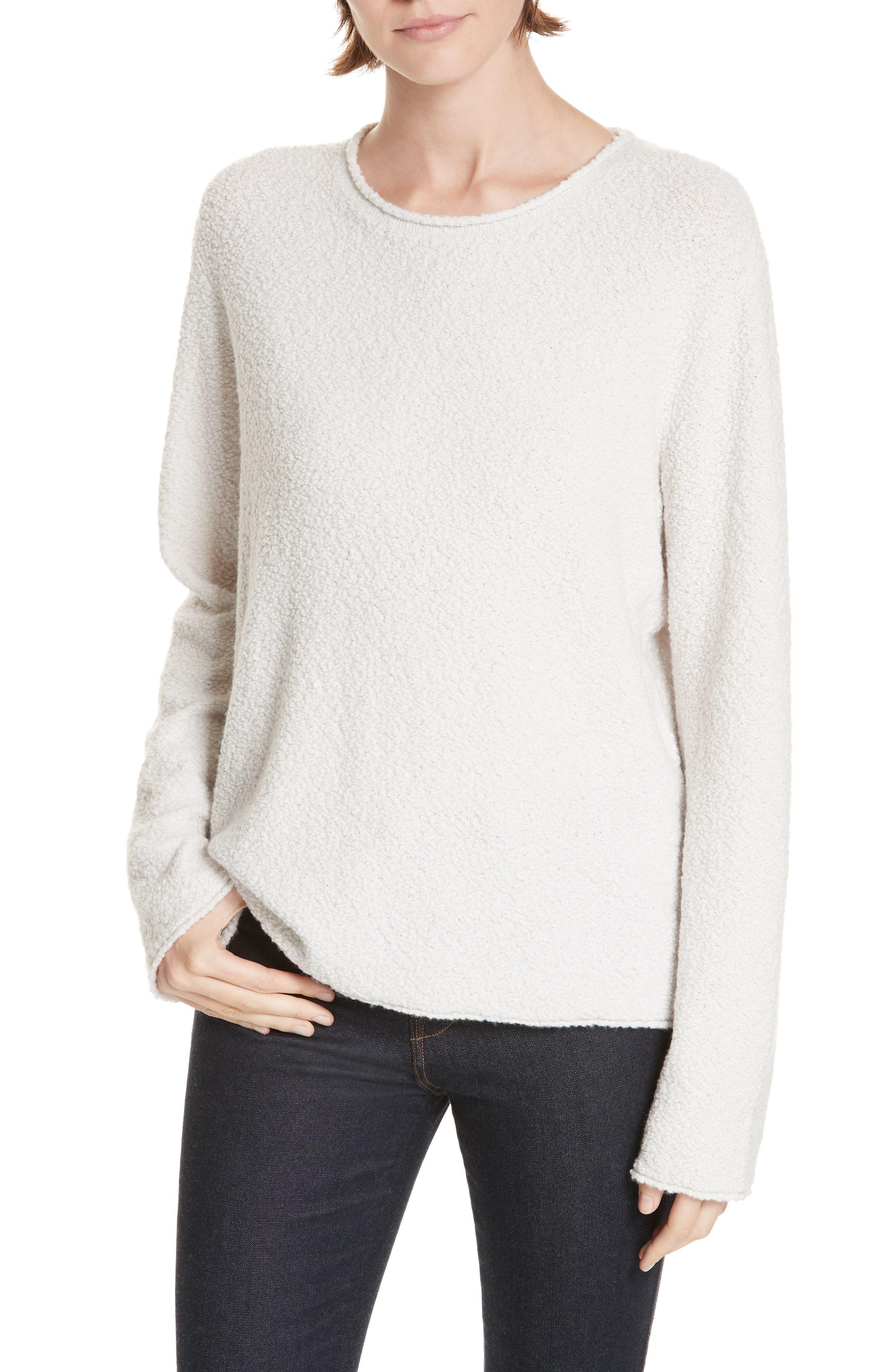 JENNI KAYNE Bouclé Crewneck Sweater in Cloud
