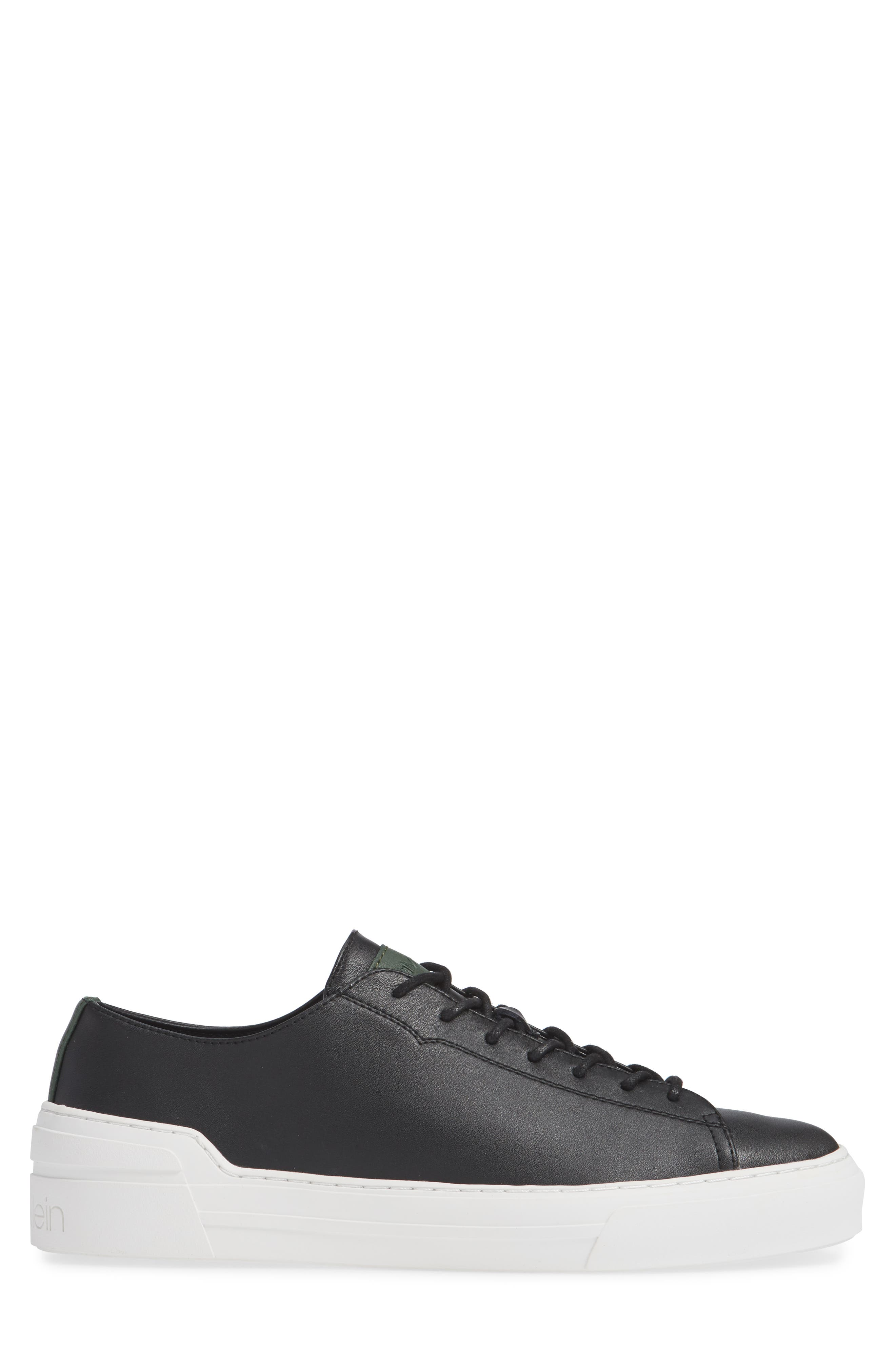 Octavian Low Top Sneaker,                             Alternate thumbnail 3, color,                             BLACK LEATHER