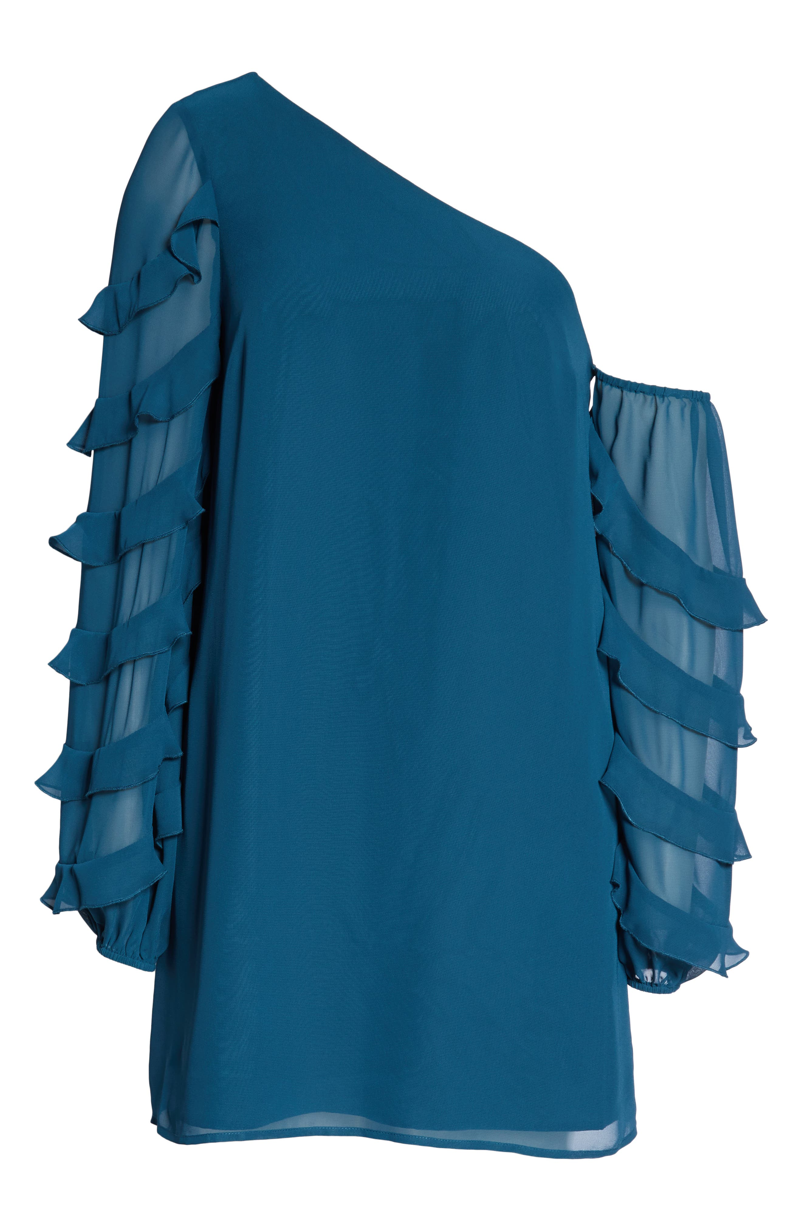 Love the Way I Look Tonight One-Shoulder Minidress,                             Alternate thumbnail 6, color,                             TEAL