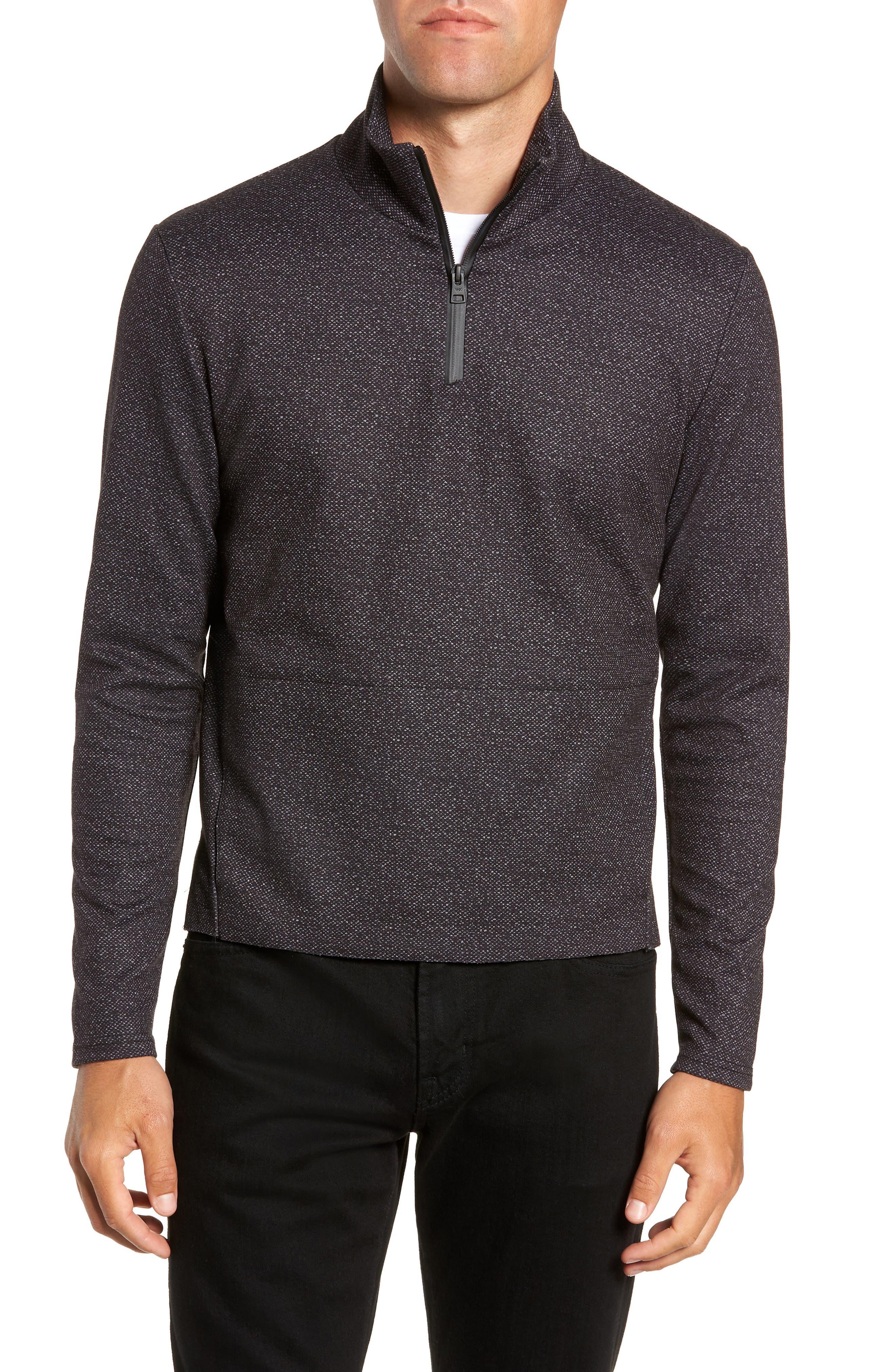 Oscar Quarter Zip Slim Fit Sweater,                         Main,                         color, CHARCOAL