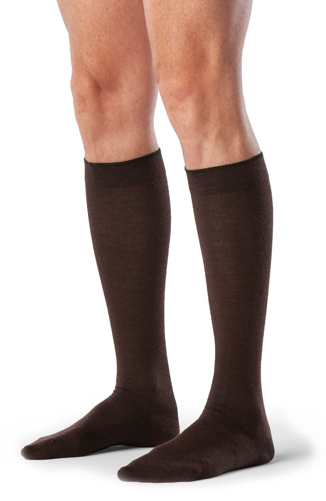 INSIGNIA BY SIGVARIS,                             'Venturist' Over the Calf Socks,                             Alternate thumbnail 3, color,                             BROWN