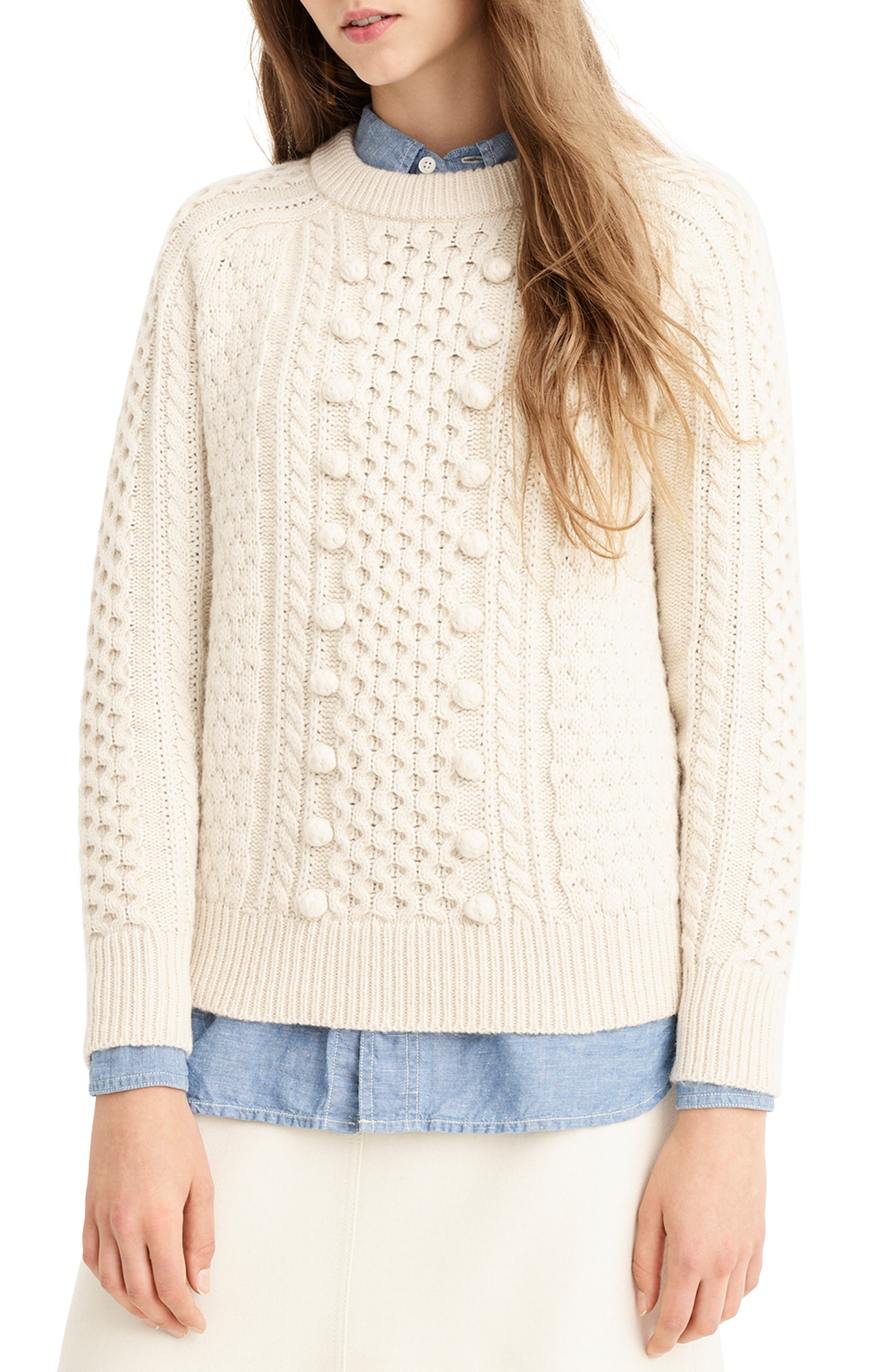 J.CREW Popcorn Cable Knit Sweater in Neutrals