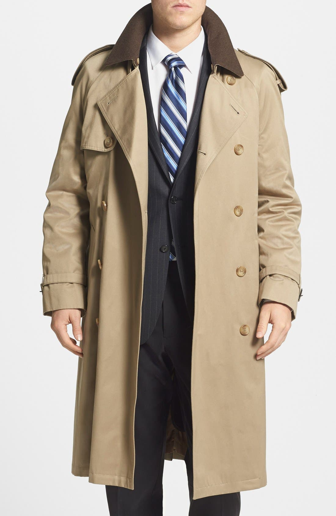 Men's Vintage Style Coats and Jackets Mens Big  Tall Hart Schaffner Marx Barrington Classic Fit Cotton Blend Trench Coat Size 44 L - Beige $177.75 AT vintagedancer.com