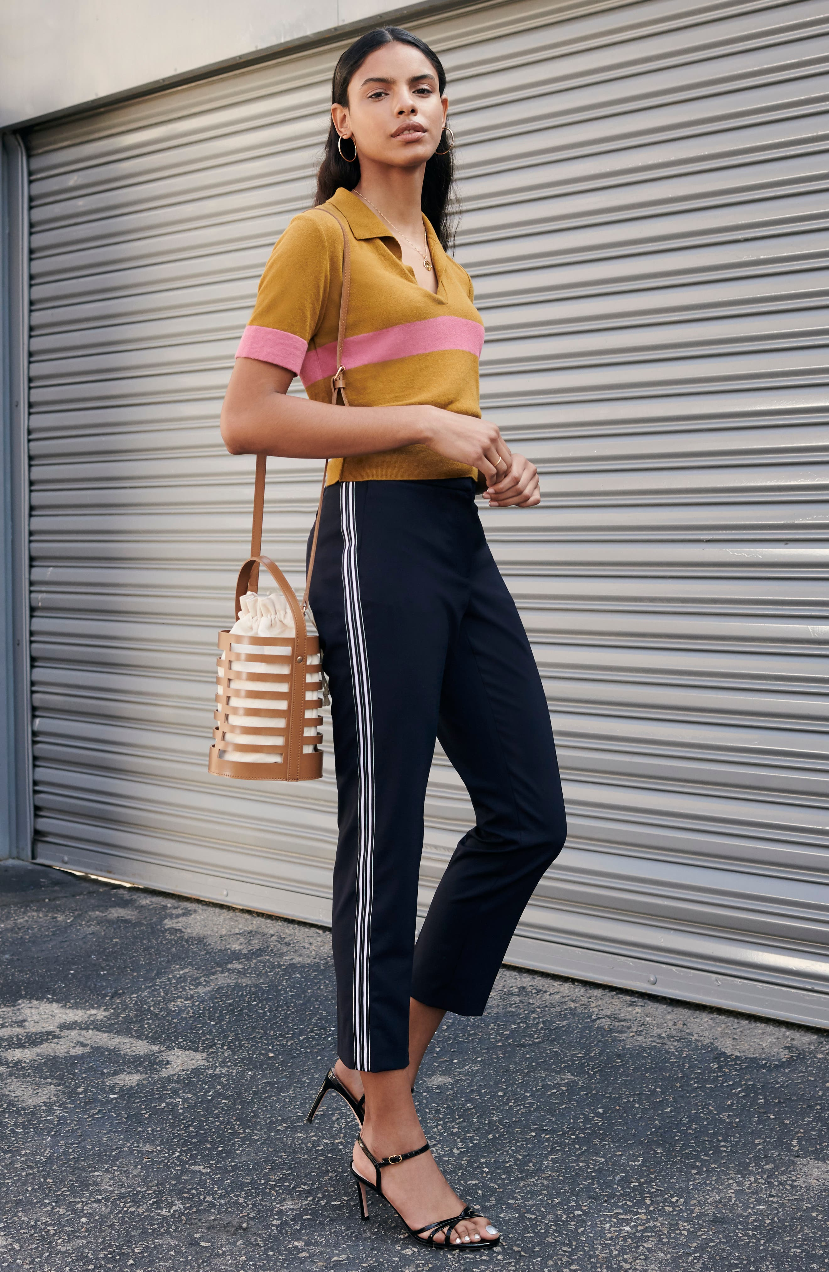 BP., Stripe Polo Sweater, Alternate thumbnail 7, color, BROWN BRONZE AIME STRIPE