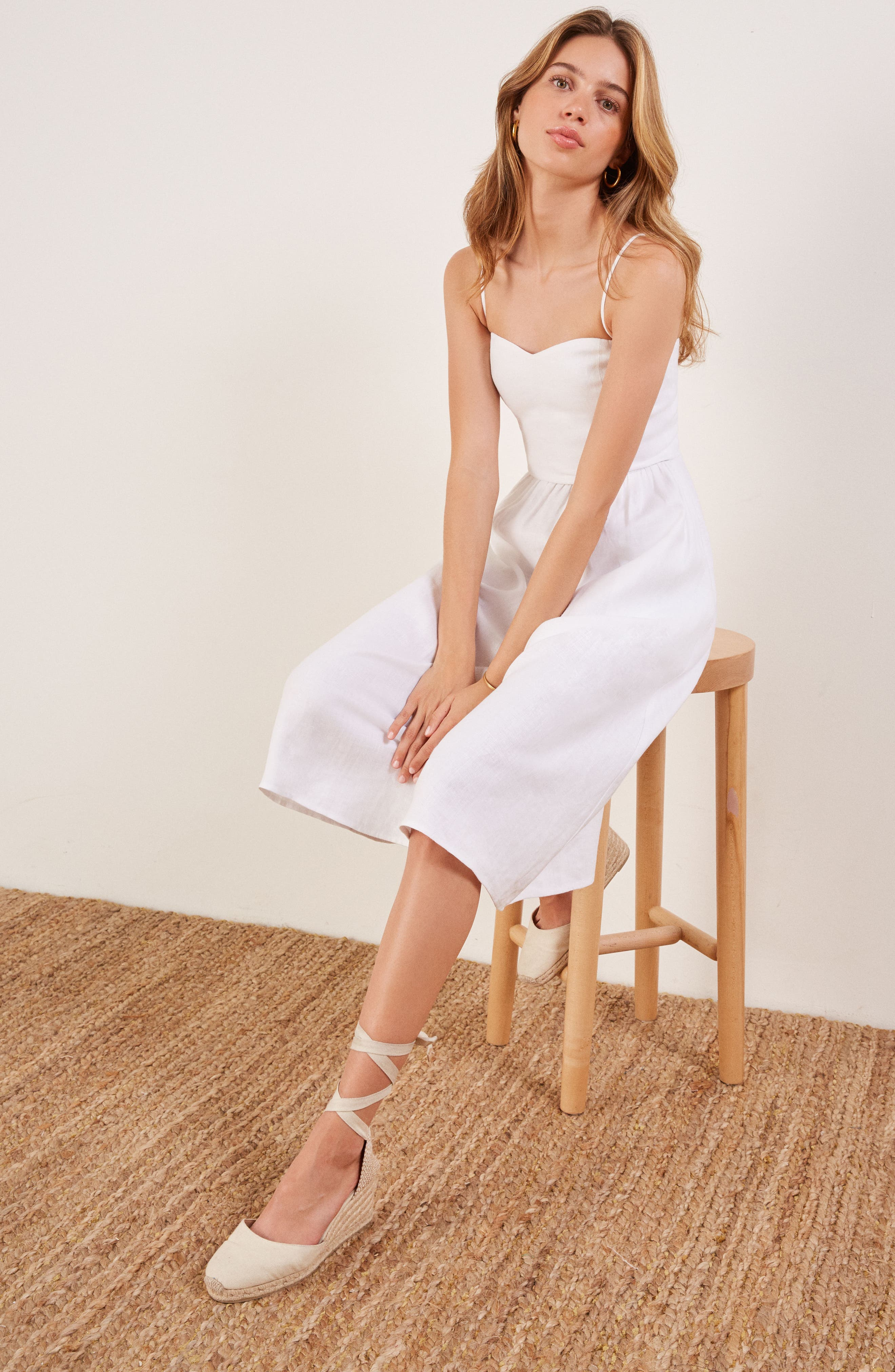 Olivia Linen Midi Dress,                             Alternate thumbnail 2, color,                             100