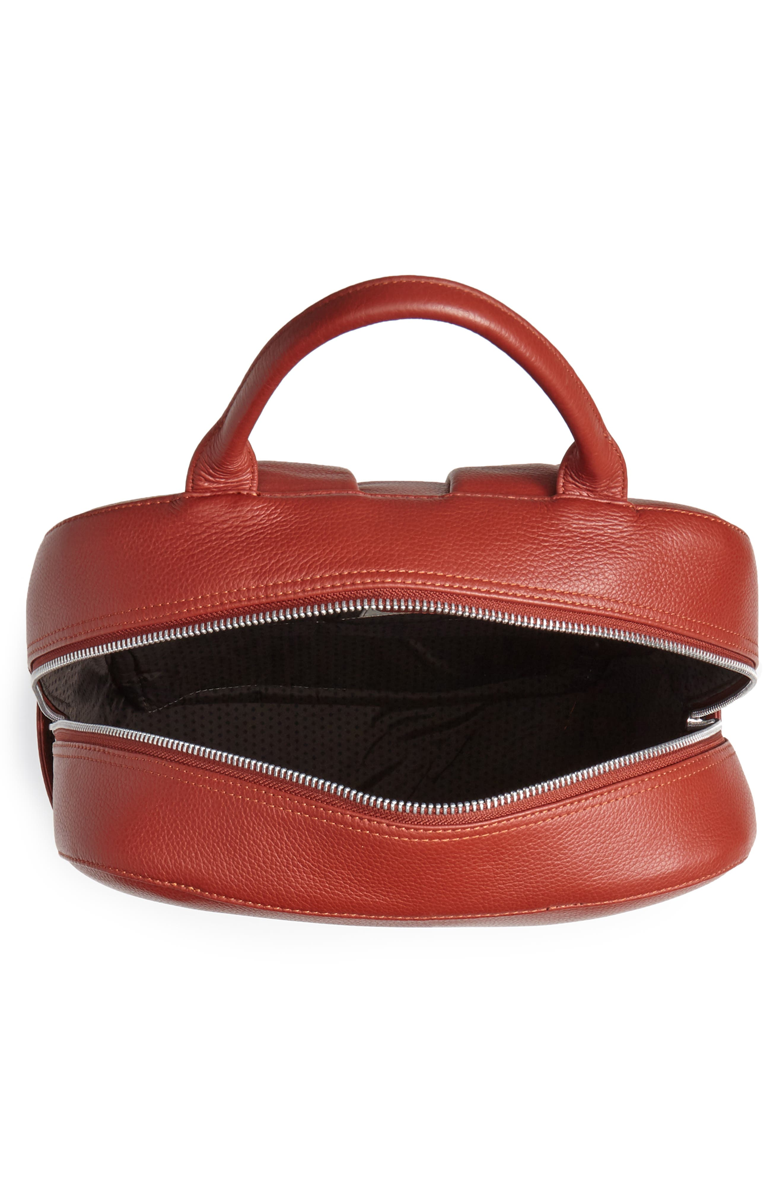 Leather Backpack,                             Alternate thumbnail 4, color,                             TERRACE RED