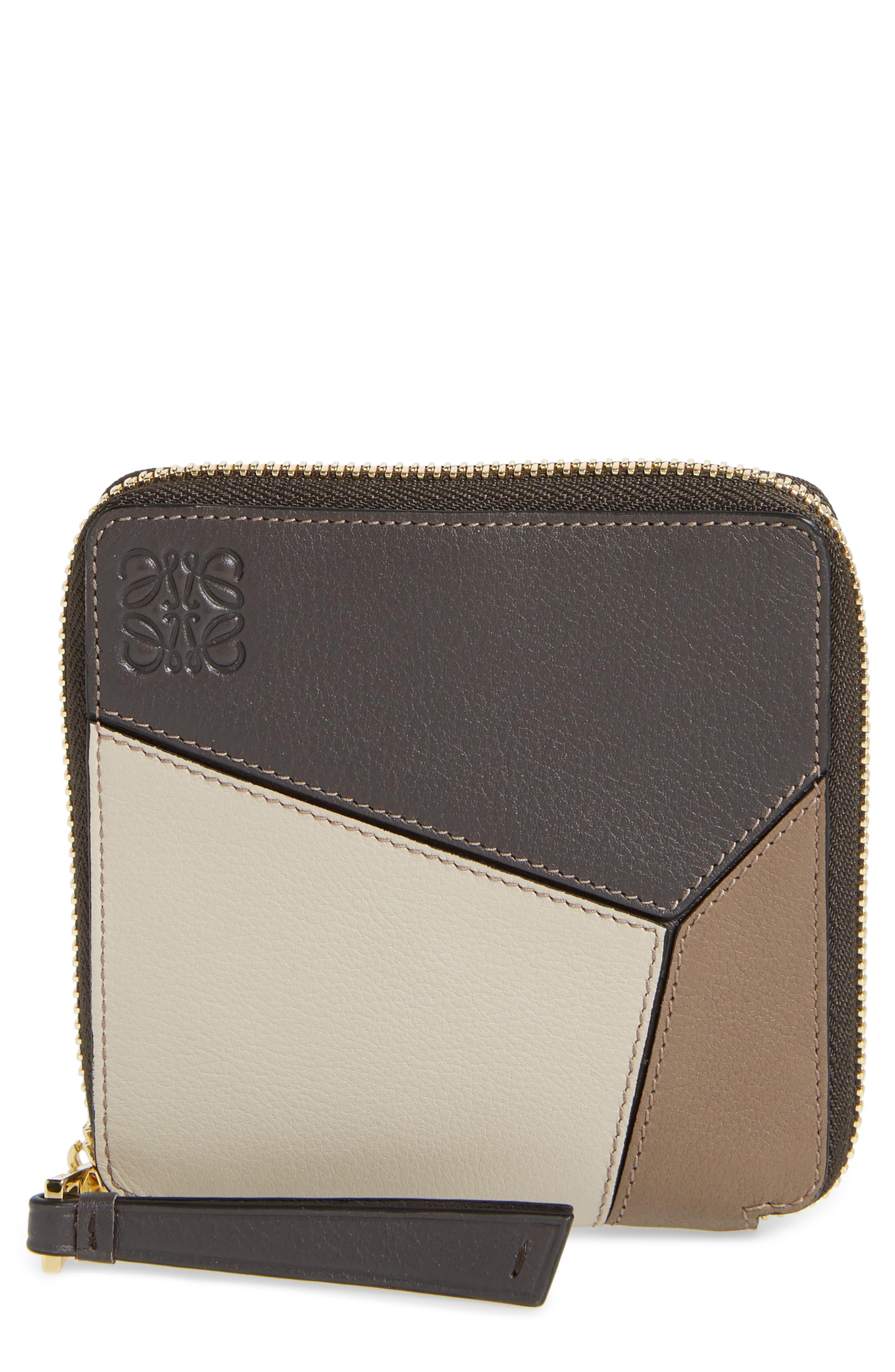 Denim Puzzle Colorblock Leather French Wallet,                             Main thumbnail 1, color,                             200
