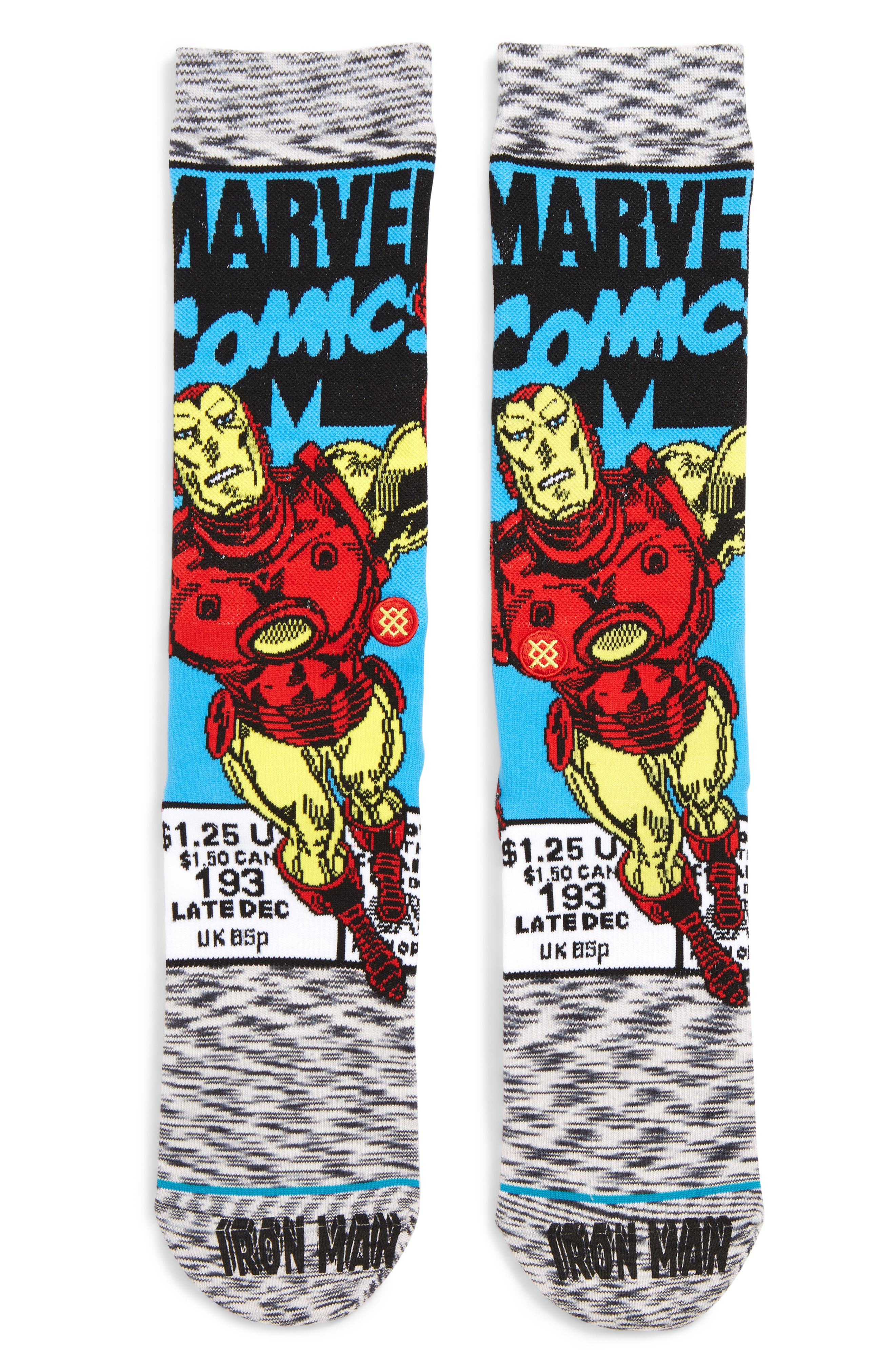 Stand Iron Man Socks, Main, color, GREY