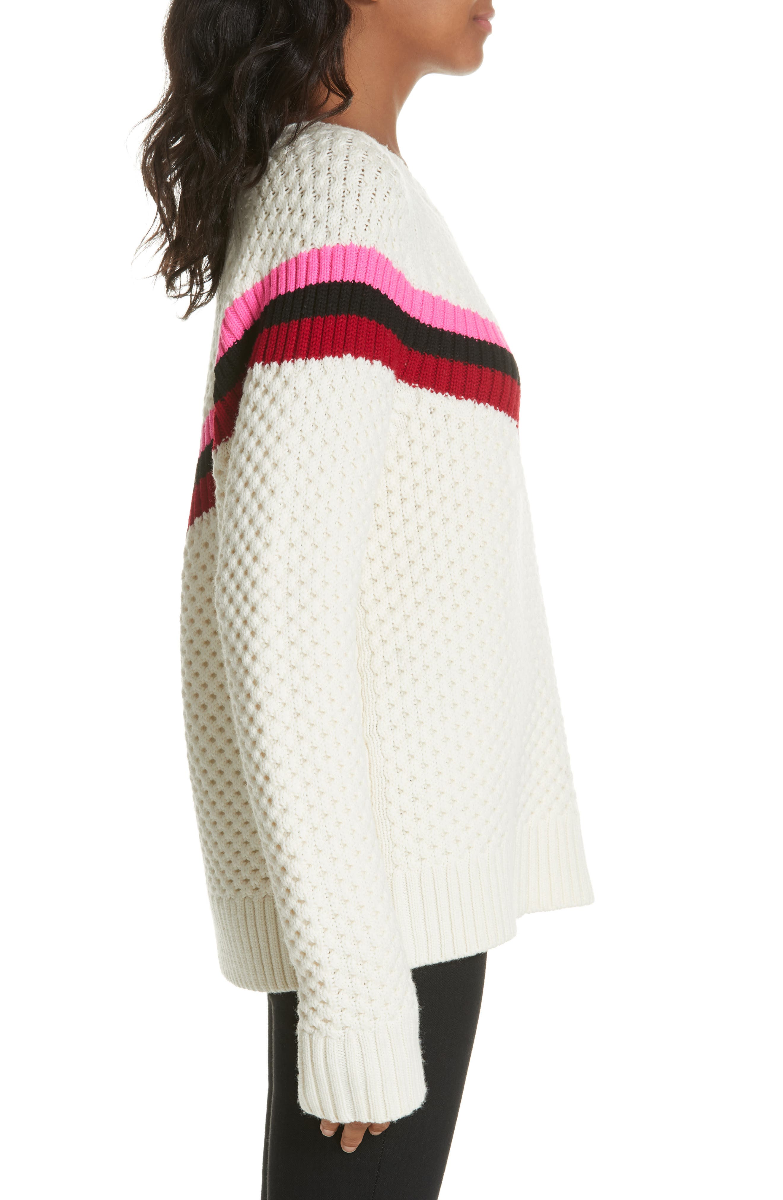 Varsity Stripe Popcorn Stitch Wool Blend Sweater,                             Alternate thumbnail 3, color,                             WHITE MULTI