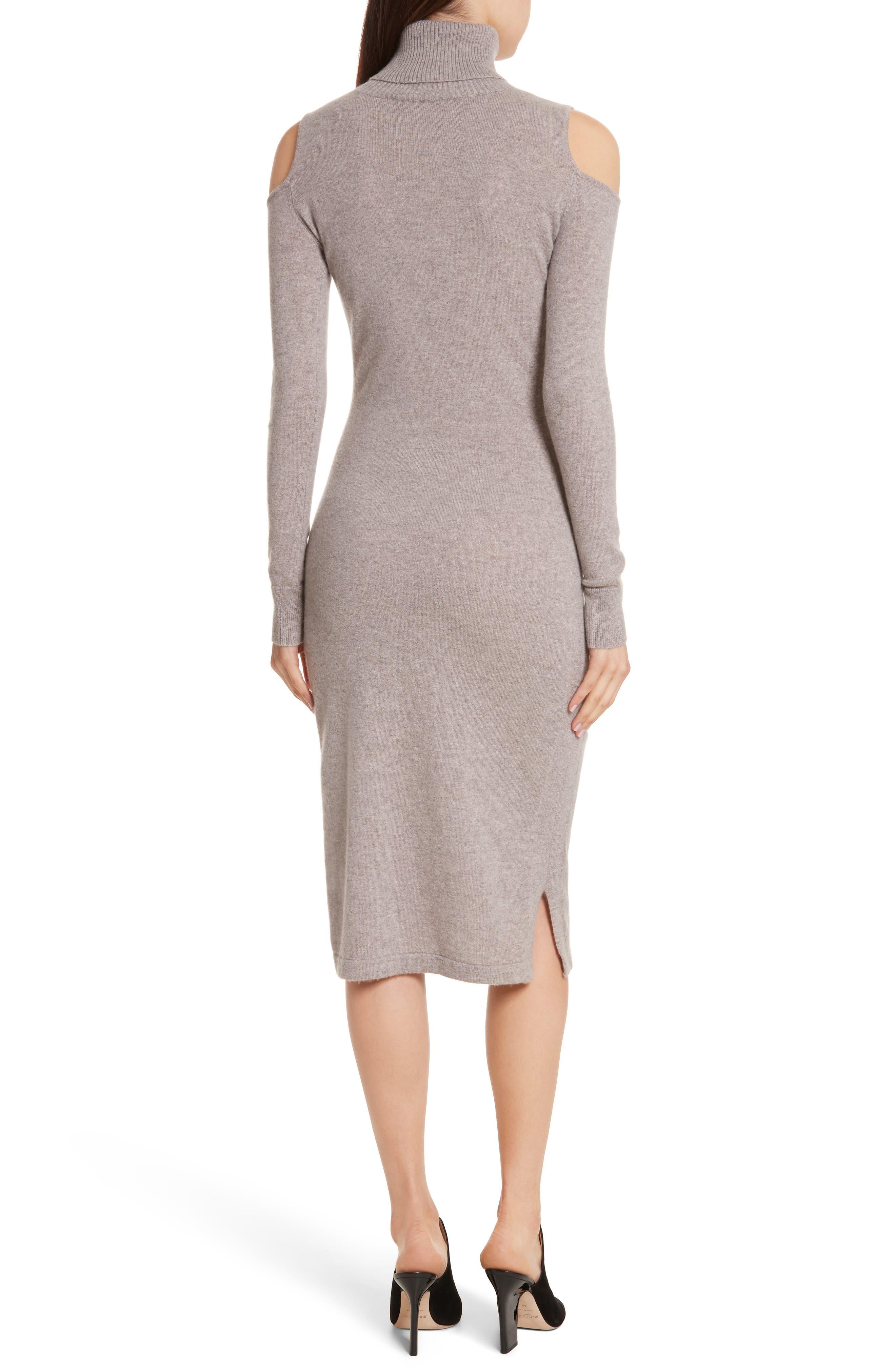 Cashmere Cold Shoulder Turtleneck Sweater Dress,                             Alternate thumbnail 4, color,