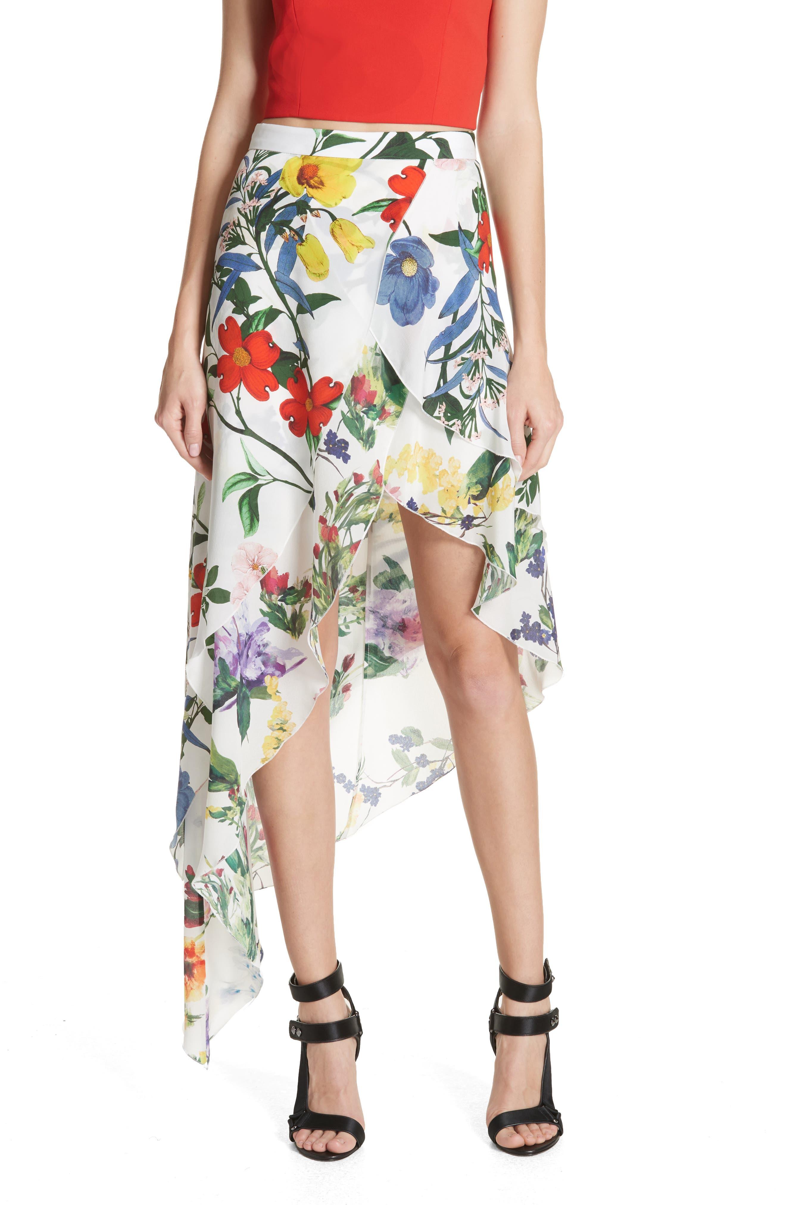 Joeann Asymmetrical Floral Silk Skirt,                         Main,                         color, 178