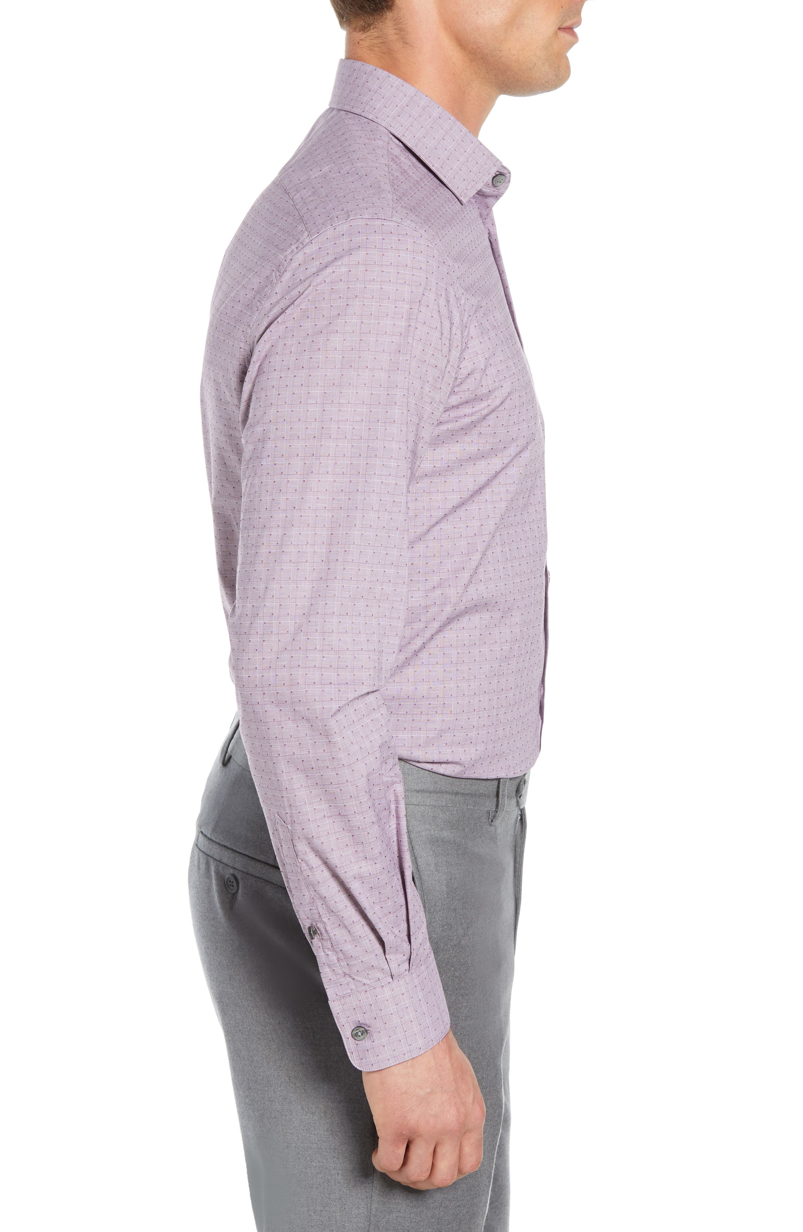 Regular Fit Stretch Check Dress Shirt,                             Alternate thumbnail 4, color,                             WINE