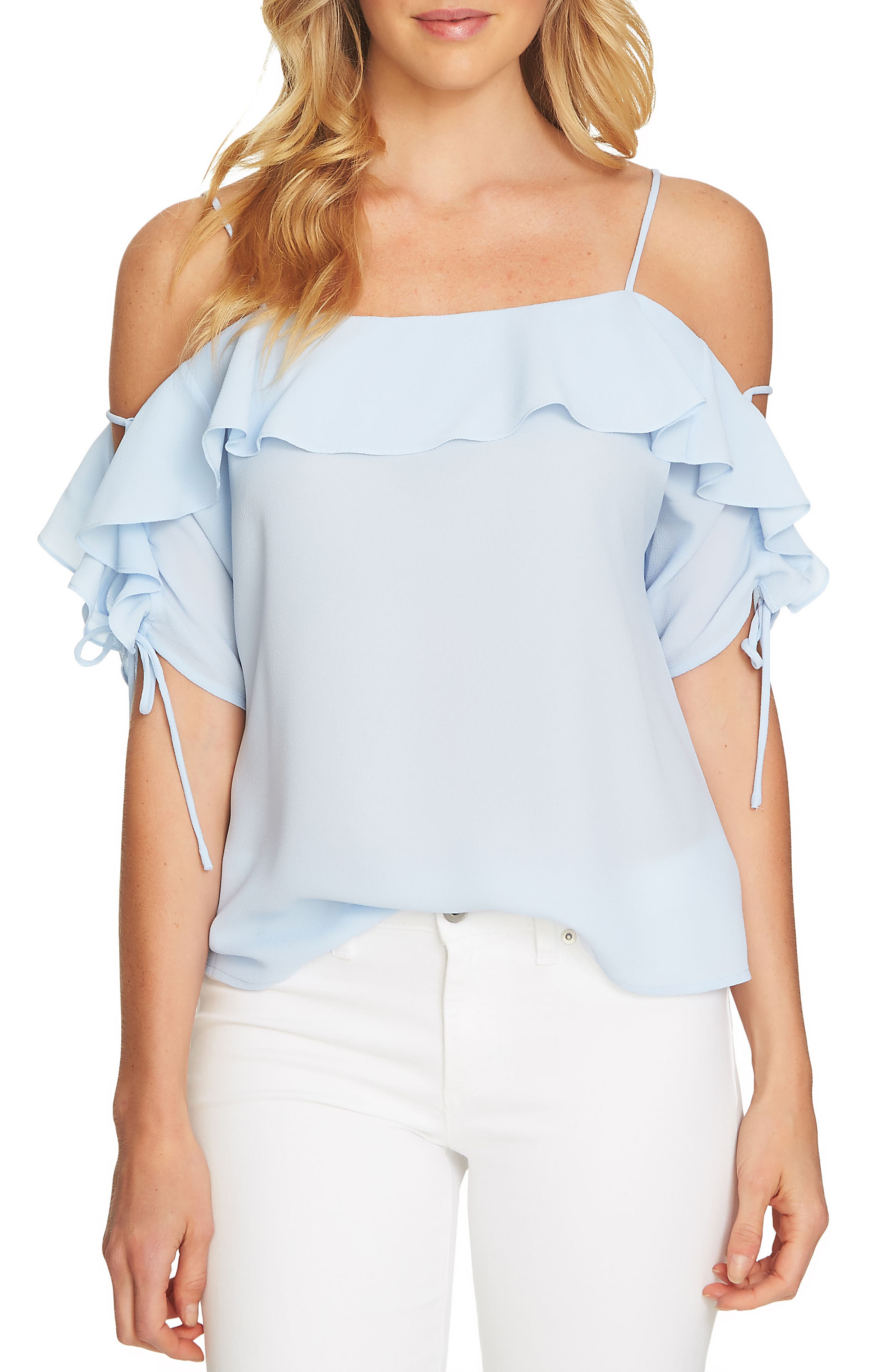 Cold Shoulder Ruffle Stretch Crepe Top,                             Main thumbnail 3, color,