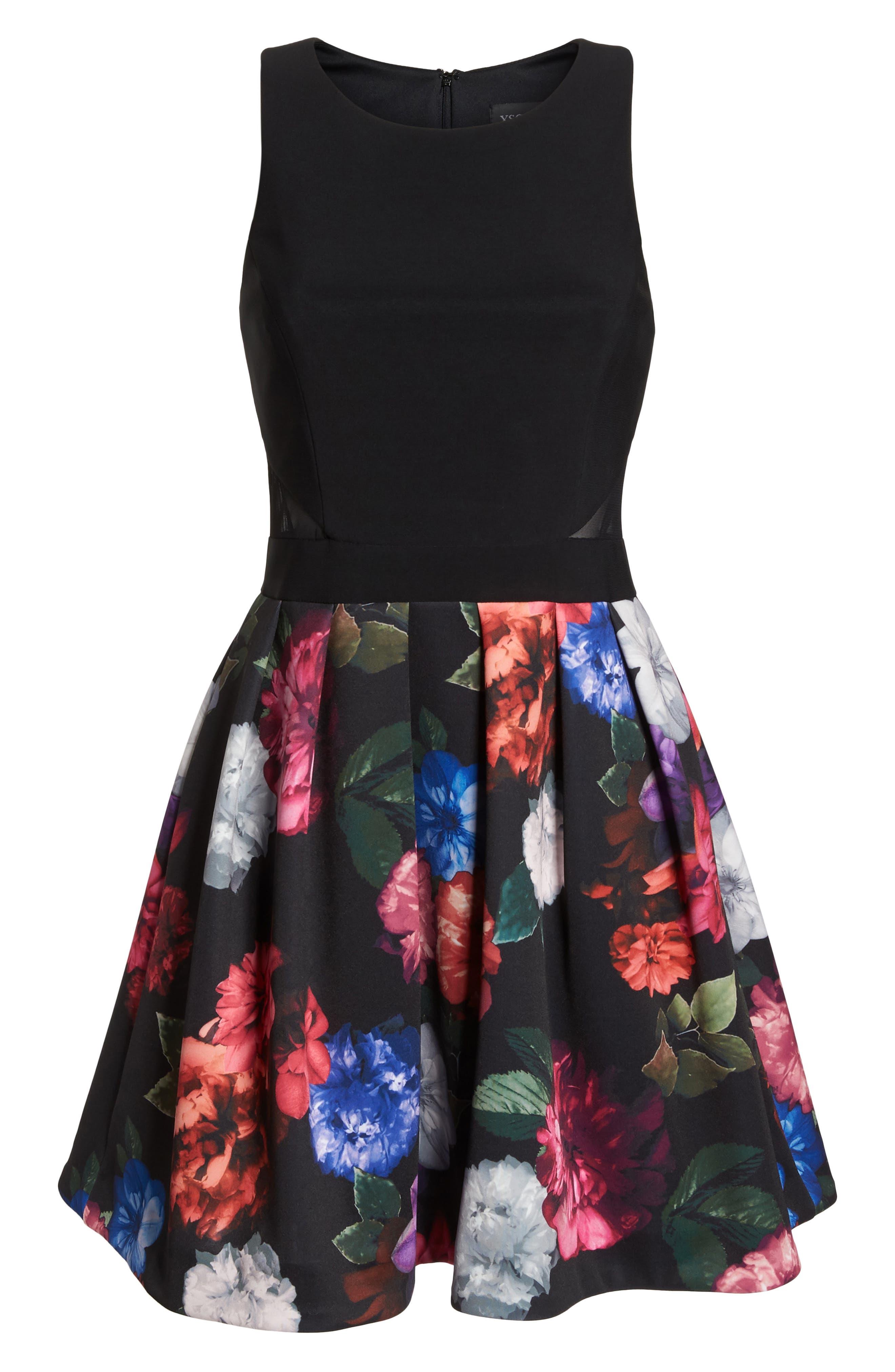 Floral Print Fit & Flare Dress,                             Alternate thumbnail 7, color,                             BLACK/ PURPLE