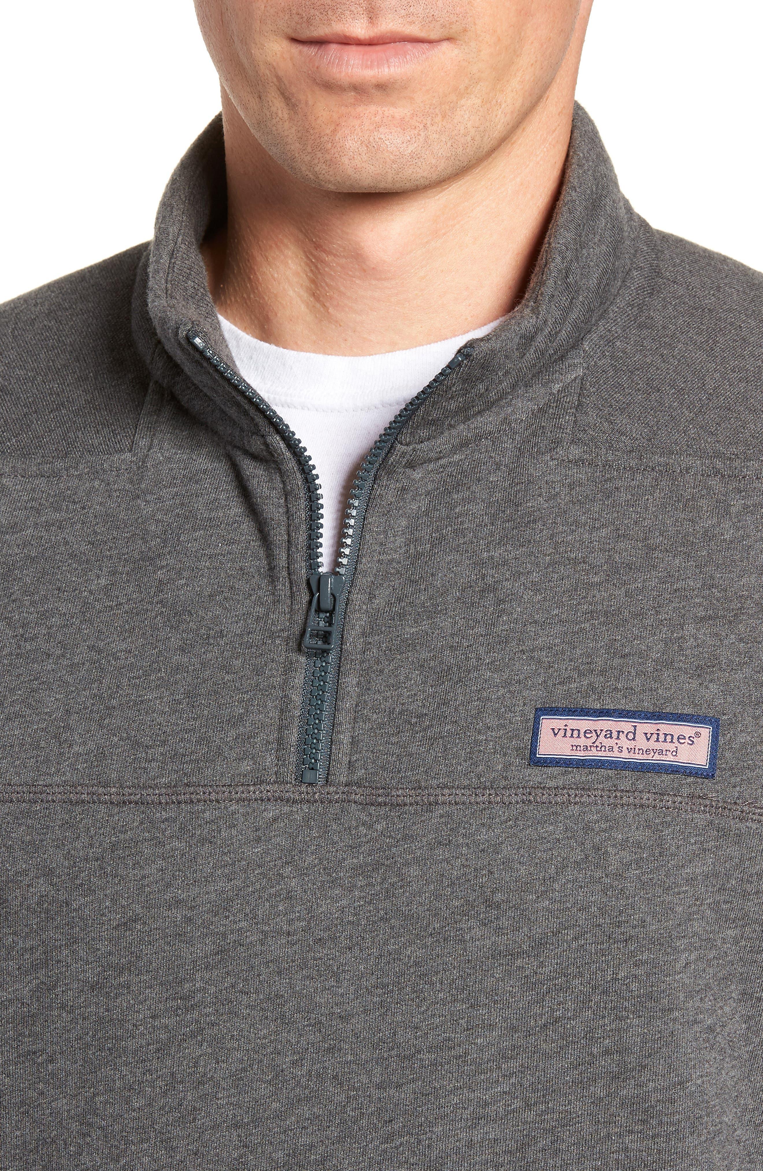 Quarter Zip Fleece Pullover,                             Alternate thumbnail 4, color,                             PEBBLE