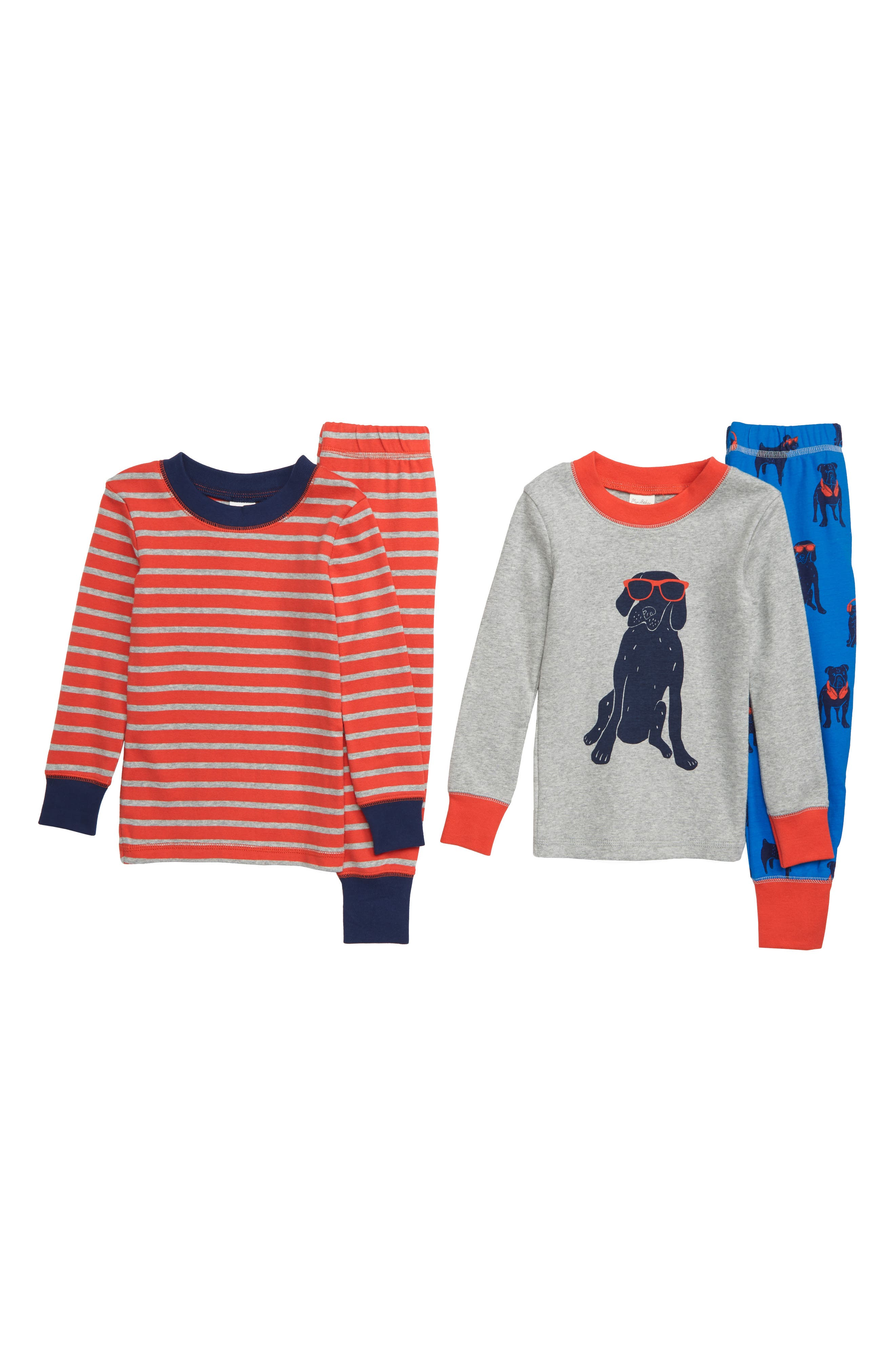 Fitted Two-Piece Pajamas, Main, color, BLUE DUKE BLUE DOGS