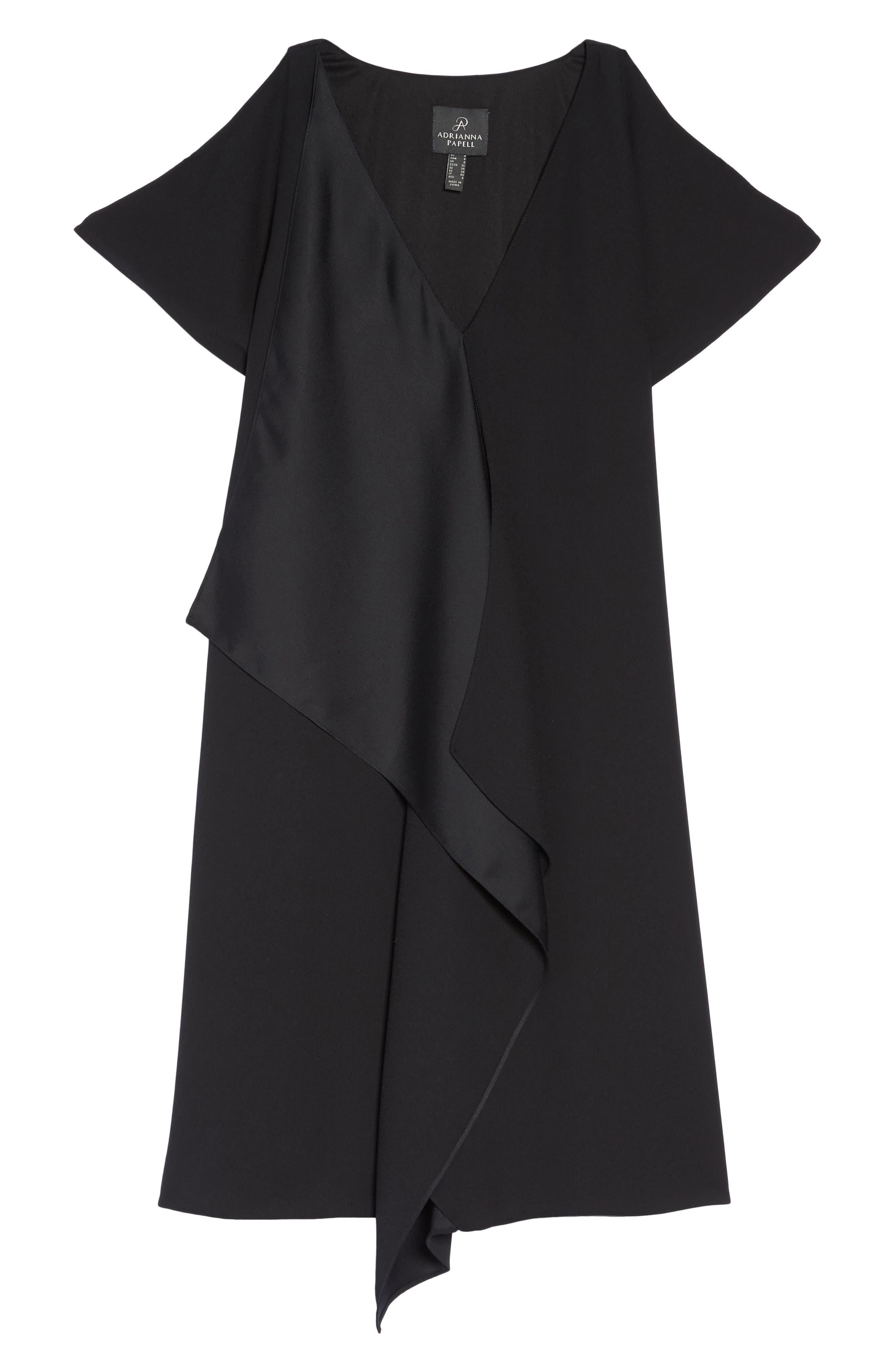Crepe & Satin Ruffle Shift Dress,                             Alternate thumbnail 6, color,                             002