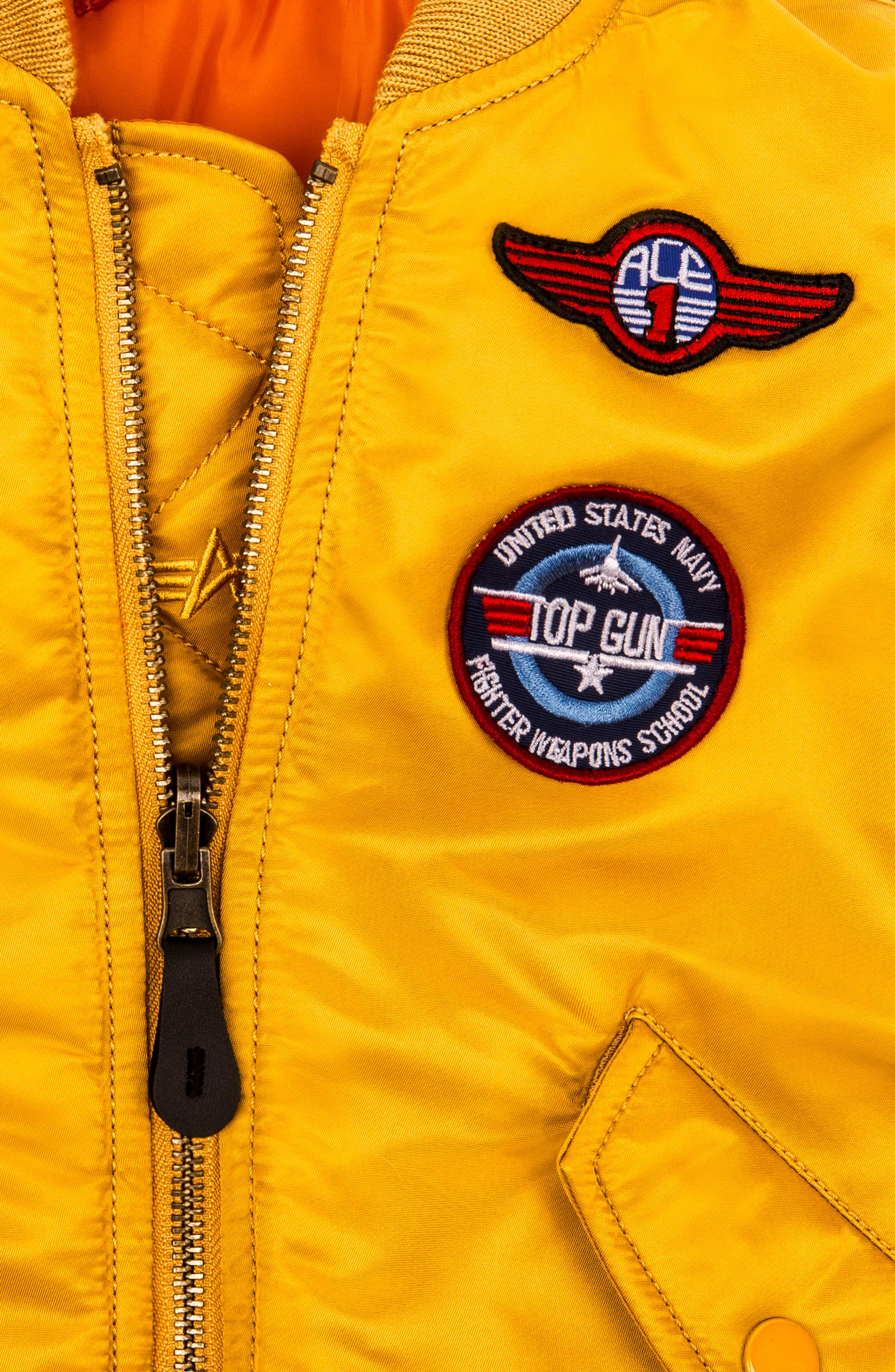 MA-1 Patch Flight Jacket,                             Alternate thumbnail 4, color,                             GOLDEN YELLOW