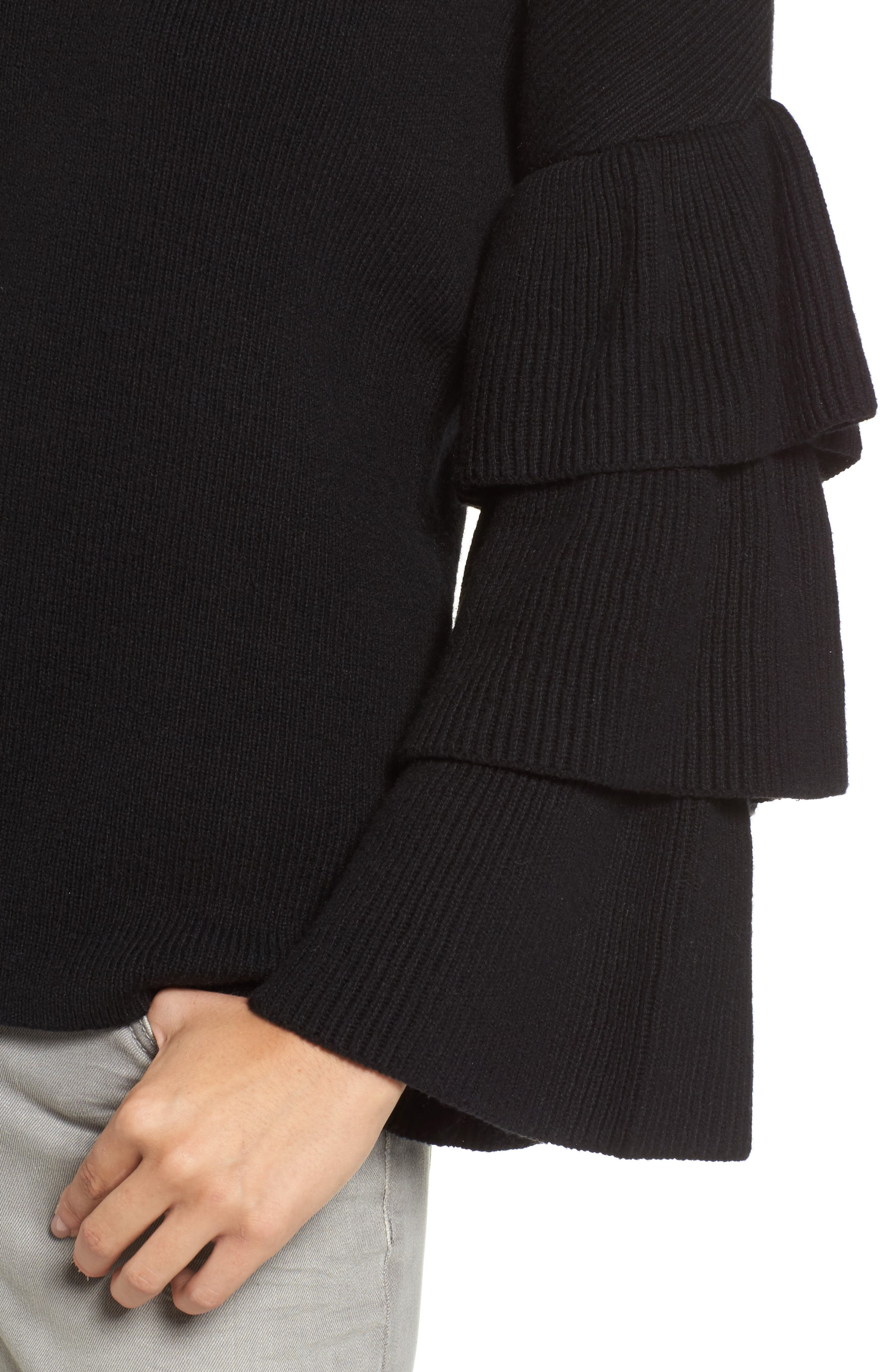 Ruffle Sleeve Sweater,                             Alternate thumbnail 4, color,                             001