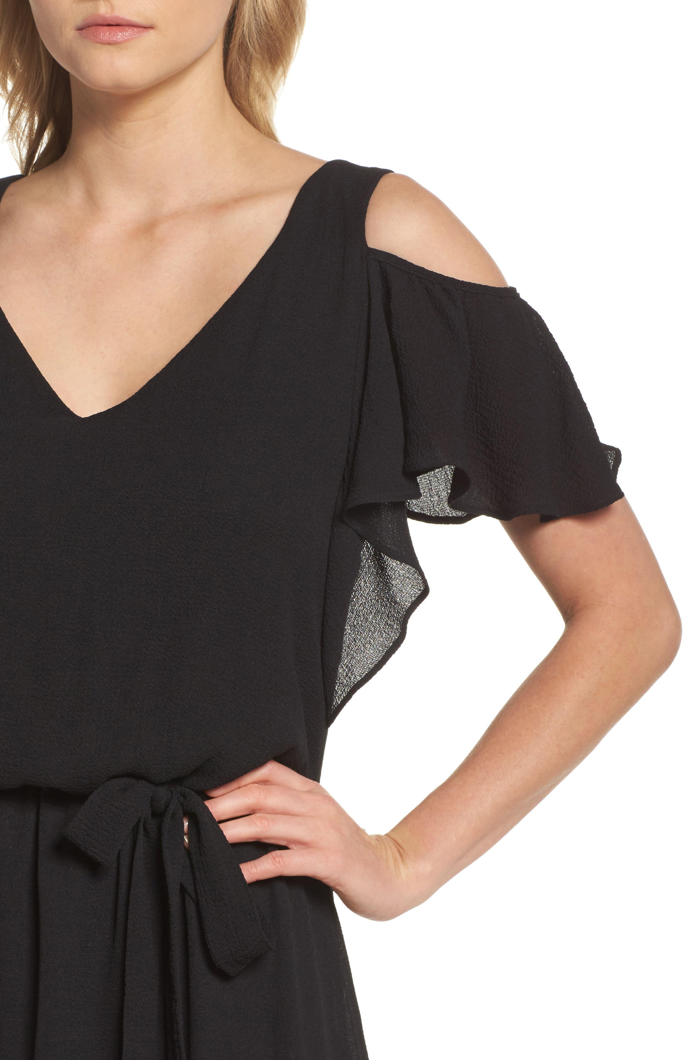 Cold Shoulder Midi Dress,                             Alternate thumbnail 4, color,                             001