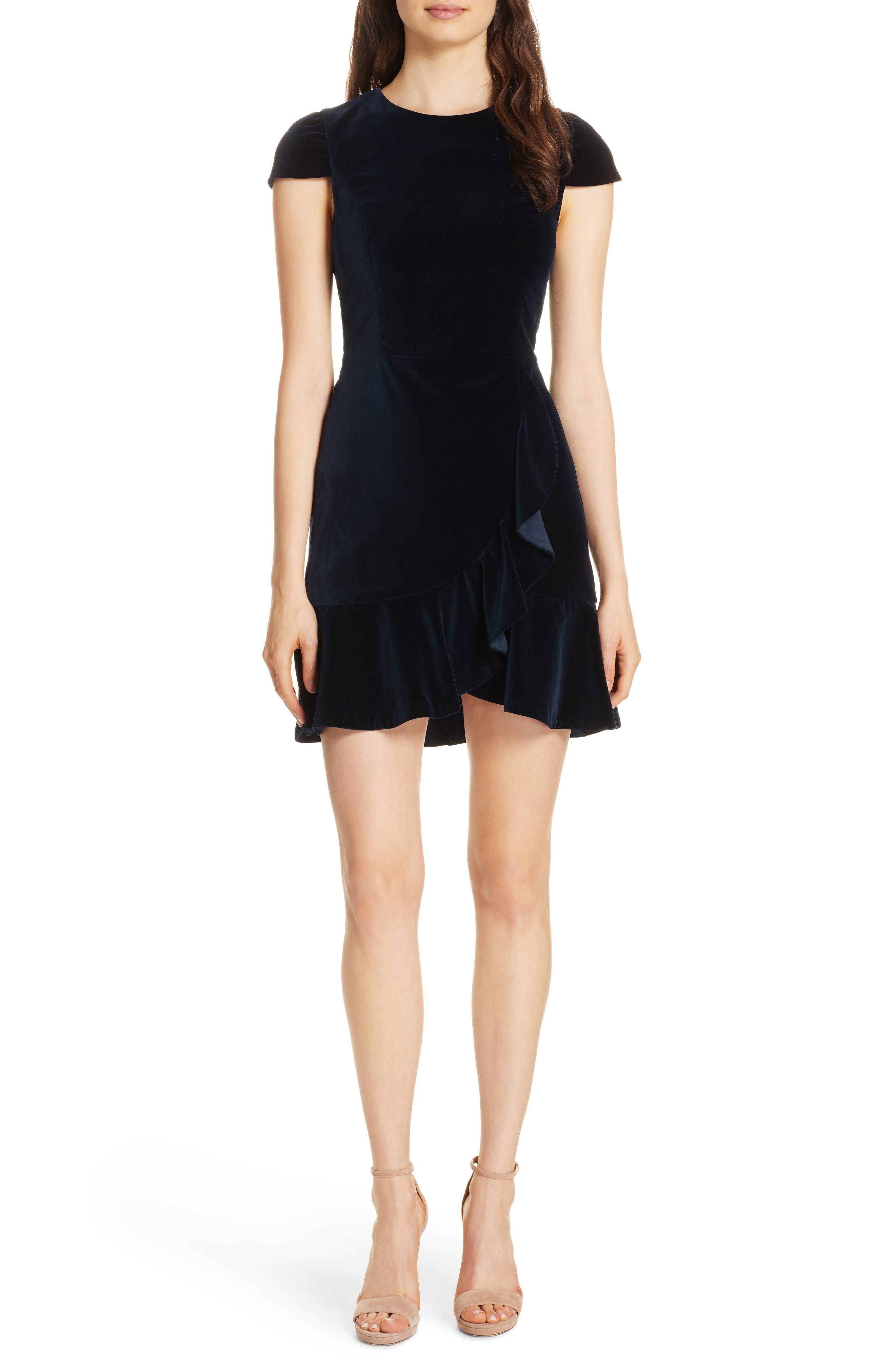 Enid Ruffled Velvet Minidress,                         Main,                         color, 410