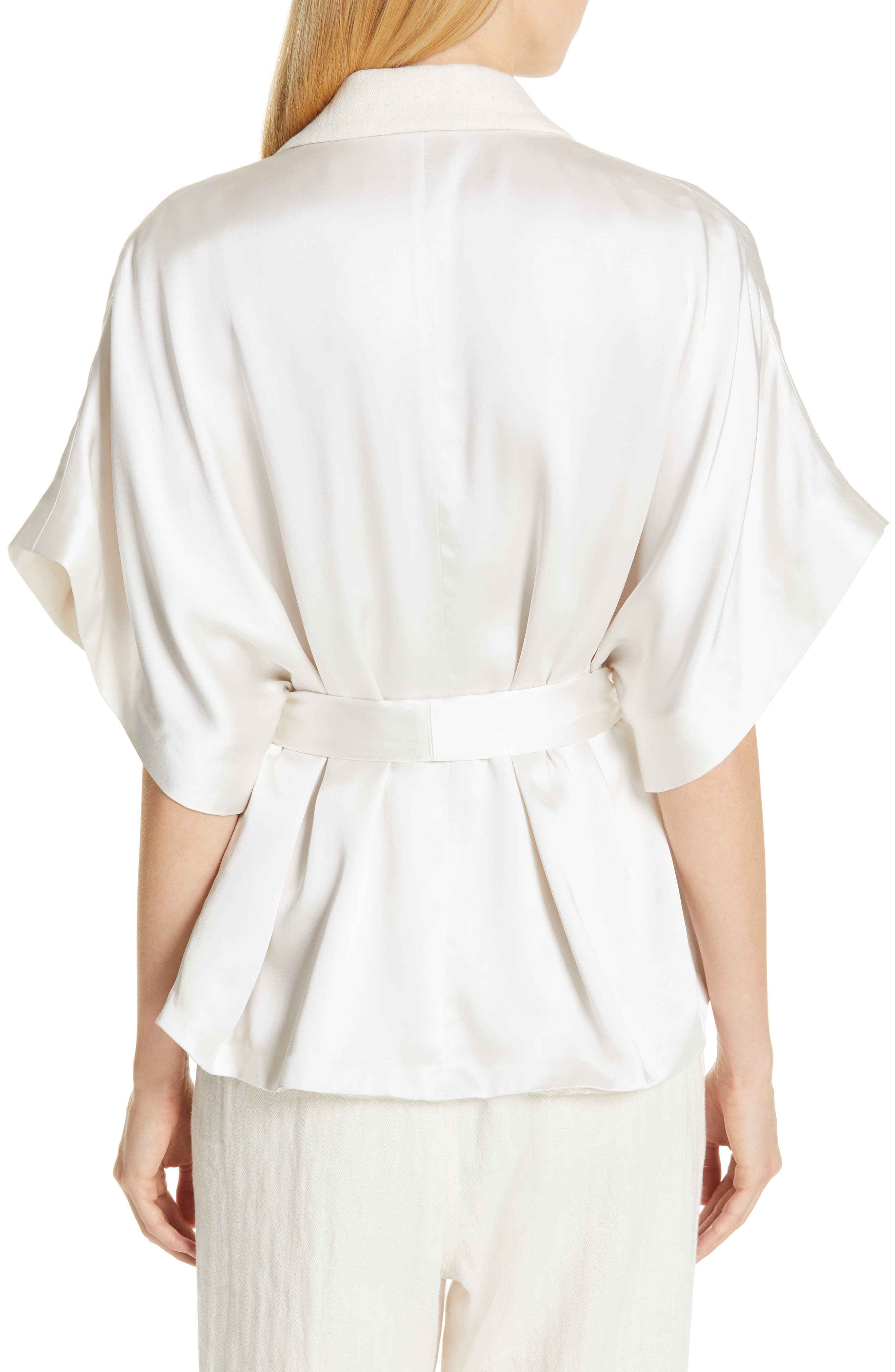 BRUNELLO CUCINELLI,                             Embellished Lapel Satin Kimono Jacket,                             Alternate thumbnail 2, color,                             BONE