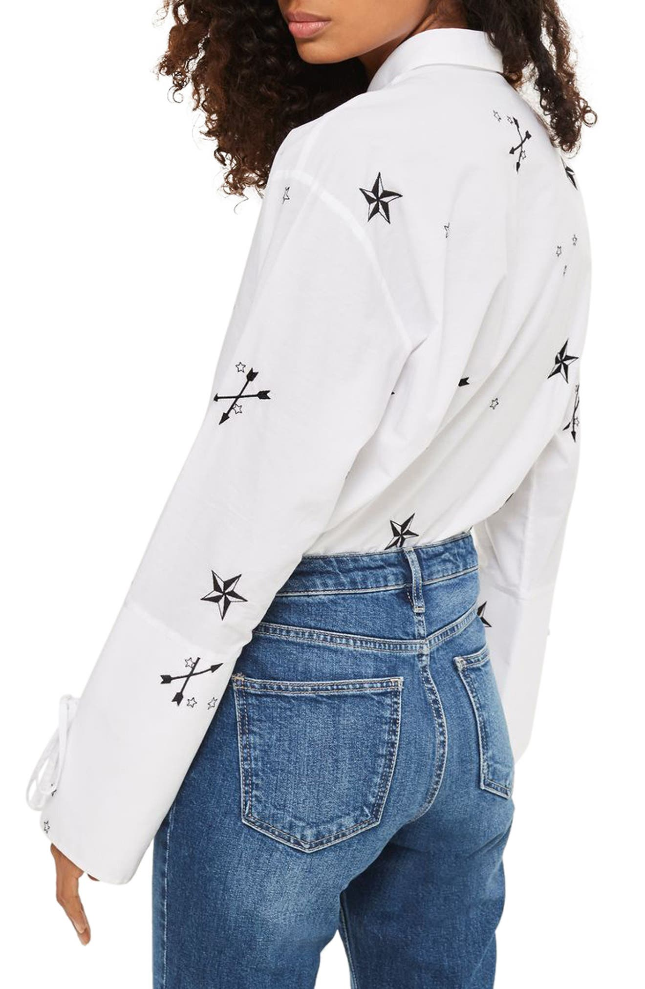TOPSHOP,                             Star Embroidered Shirt,                             Alternate thumbnail 2, color,                             100