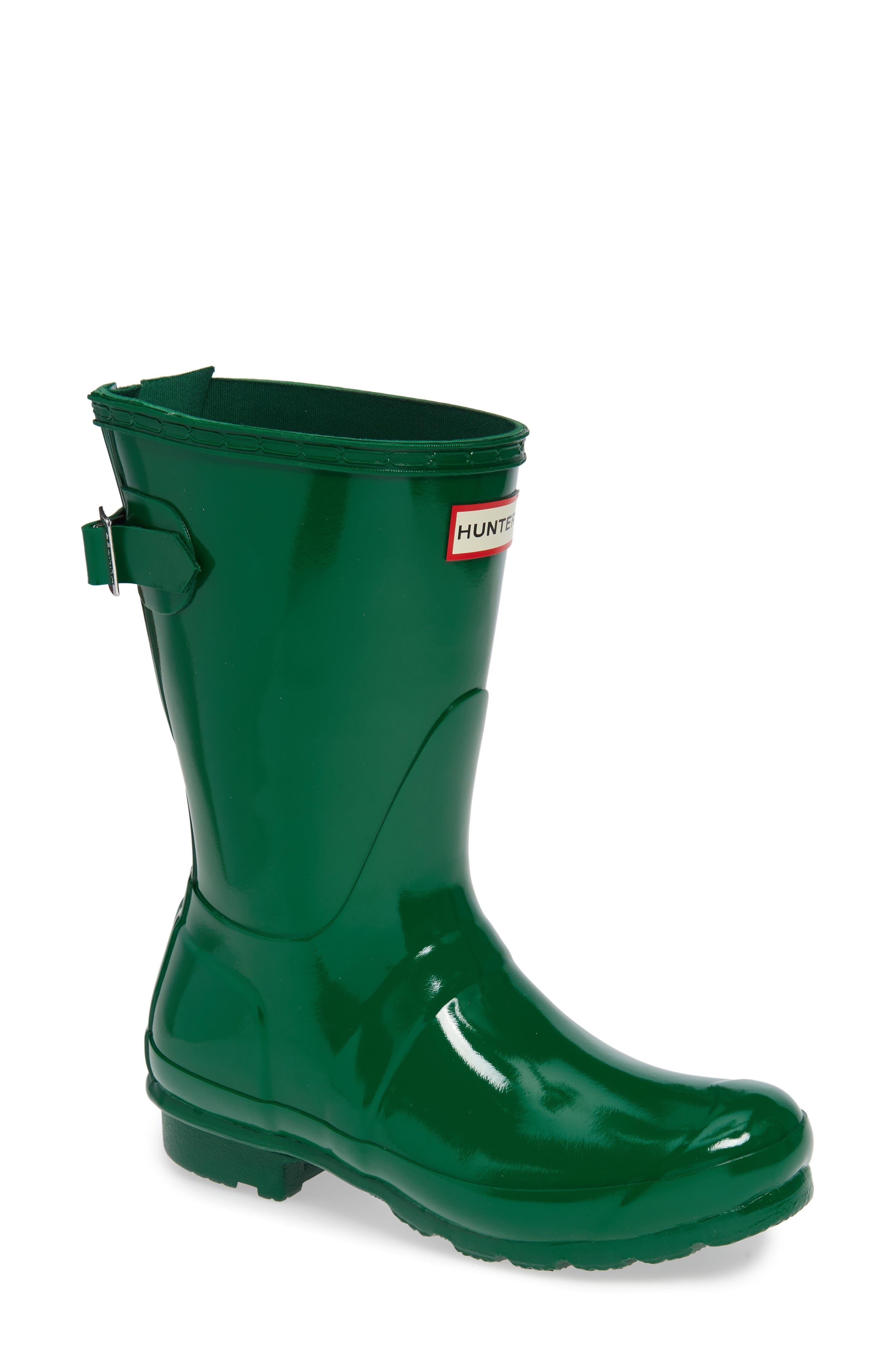 Original Short Adjustable Back Gloss Rain Boot,                         Main,                         color, HYPER GREEN