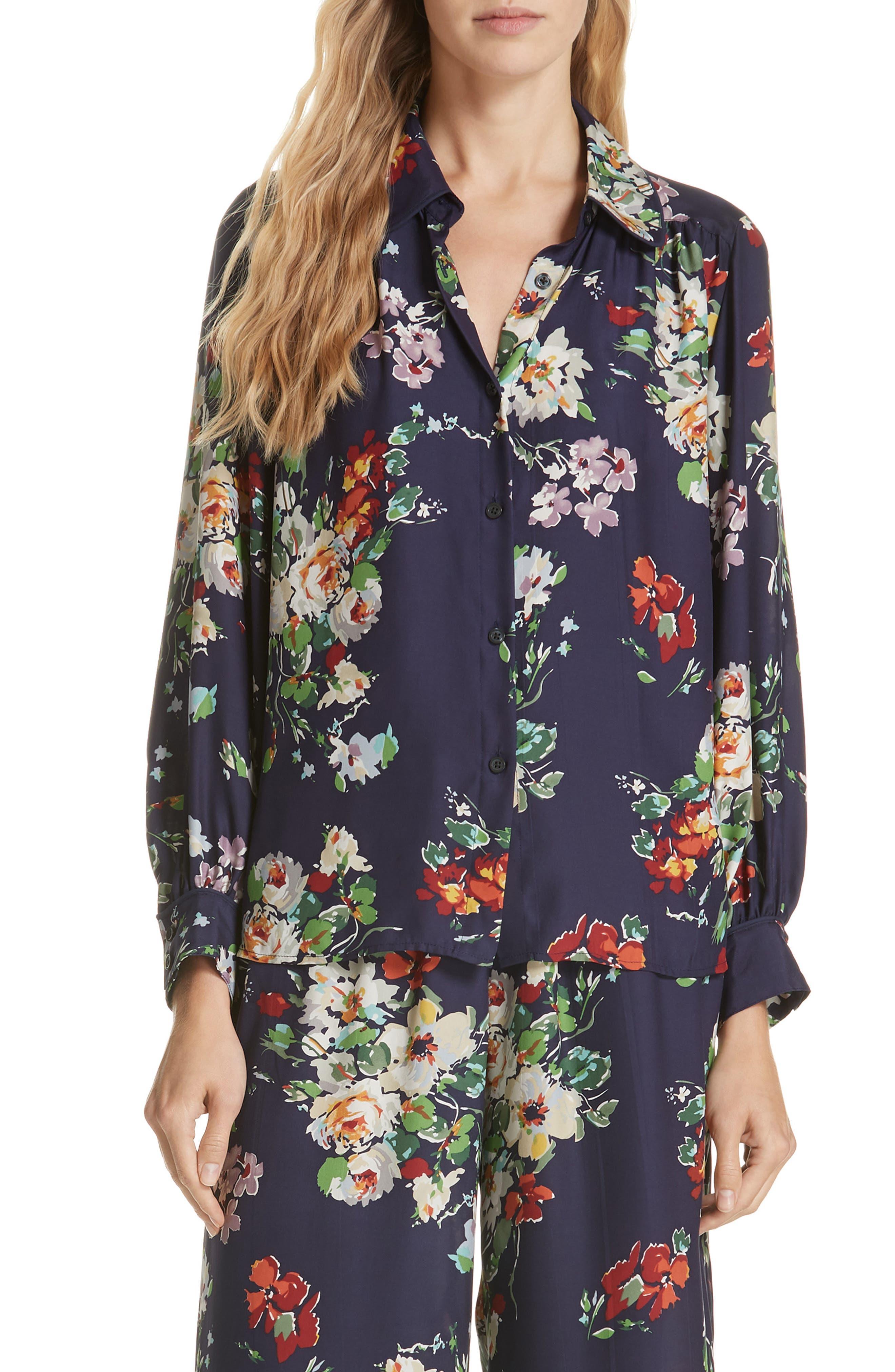 Floral Silk Blouse,                             Main thumbnail 1, color,                             NIGHTFALL FLORAL PRINT