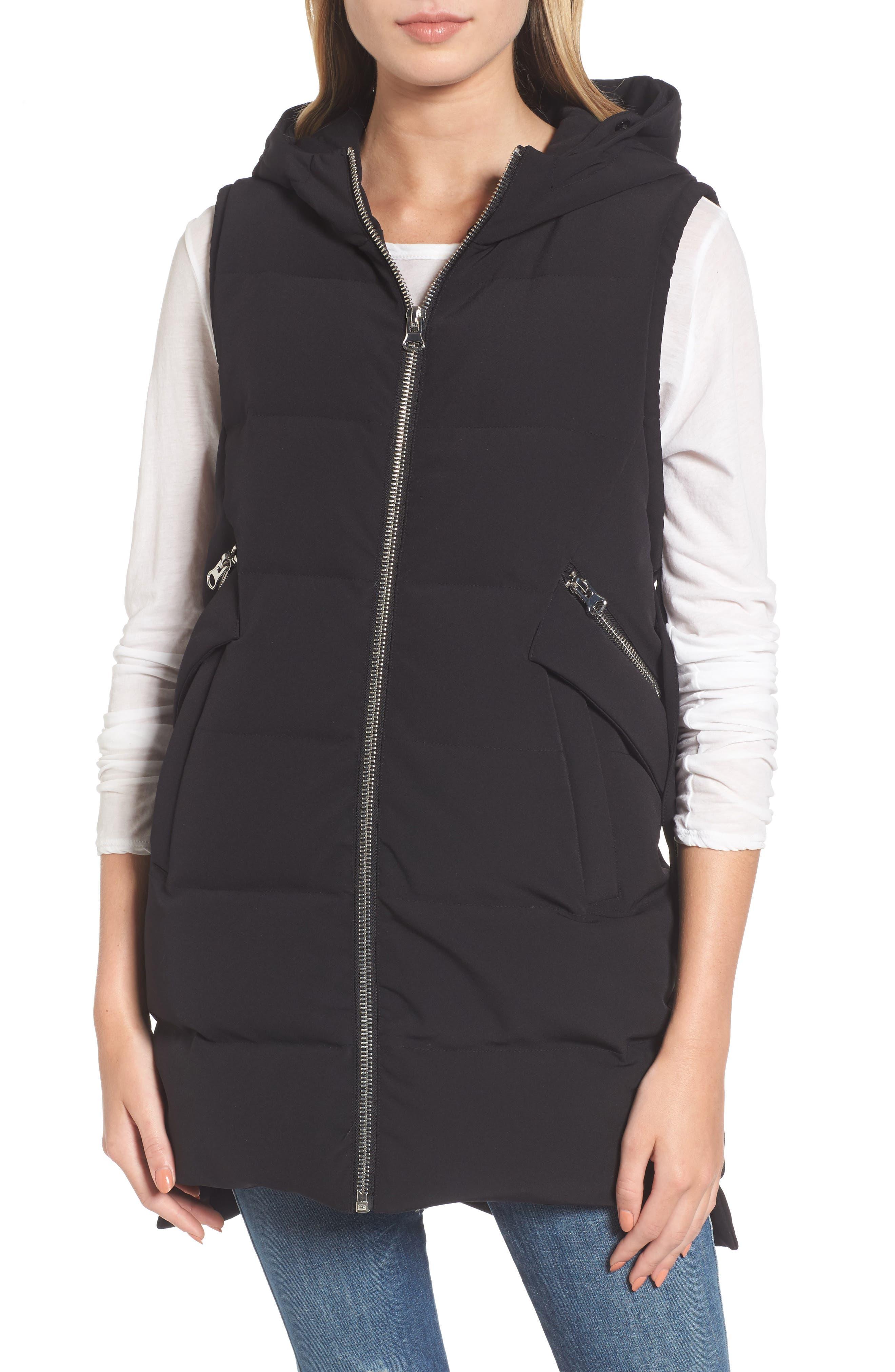 Down Vest with Genuine Fox Fur,                             Alternate thumbnail 4, color,                             001