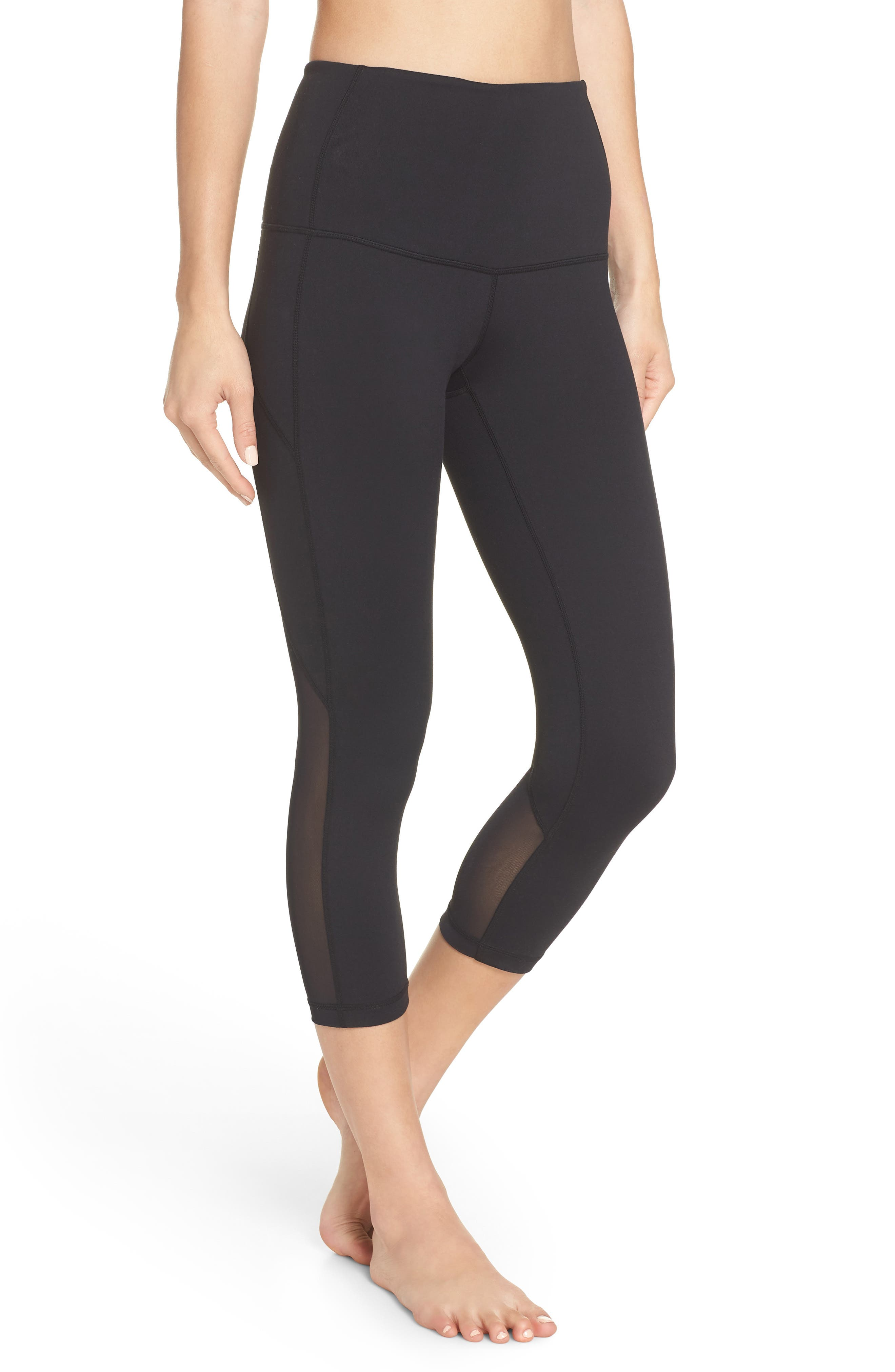 Meditate High Waist Crop Leggings,                         Main,                         color, BLACK