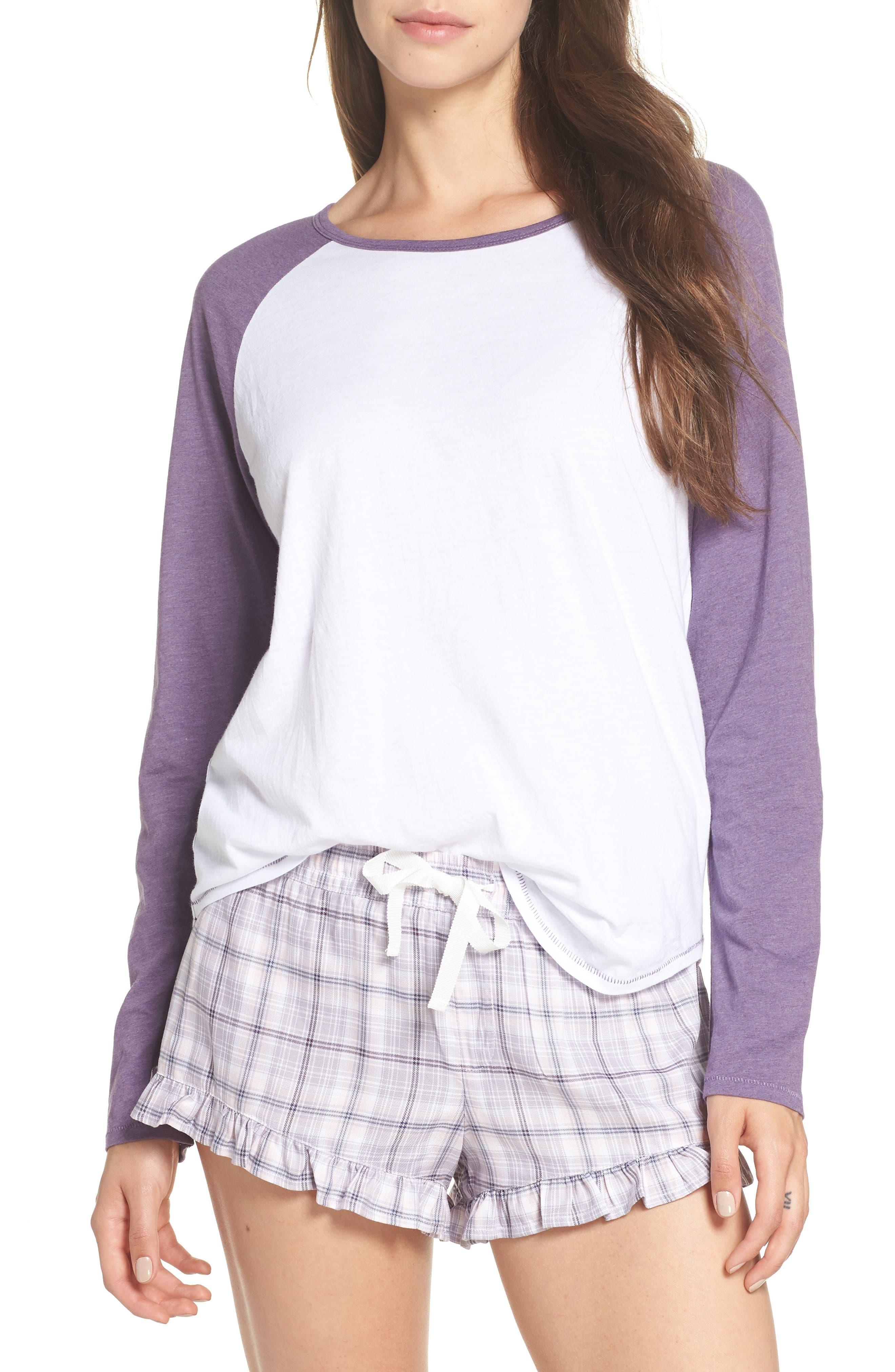 Charly Short Pajamas,                             Main thumbnail 1, color,                             LAVENDER AURA PLAID