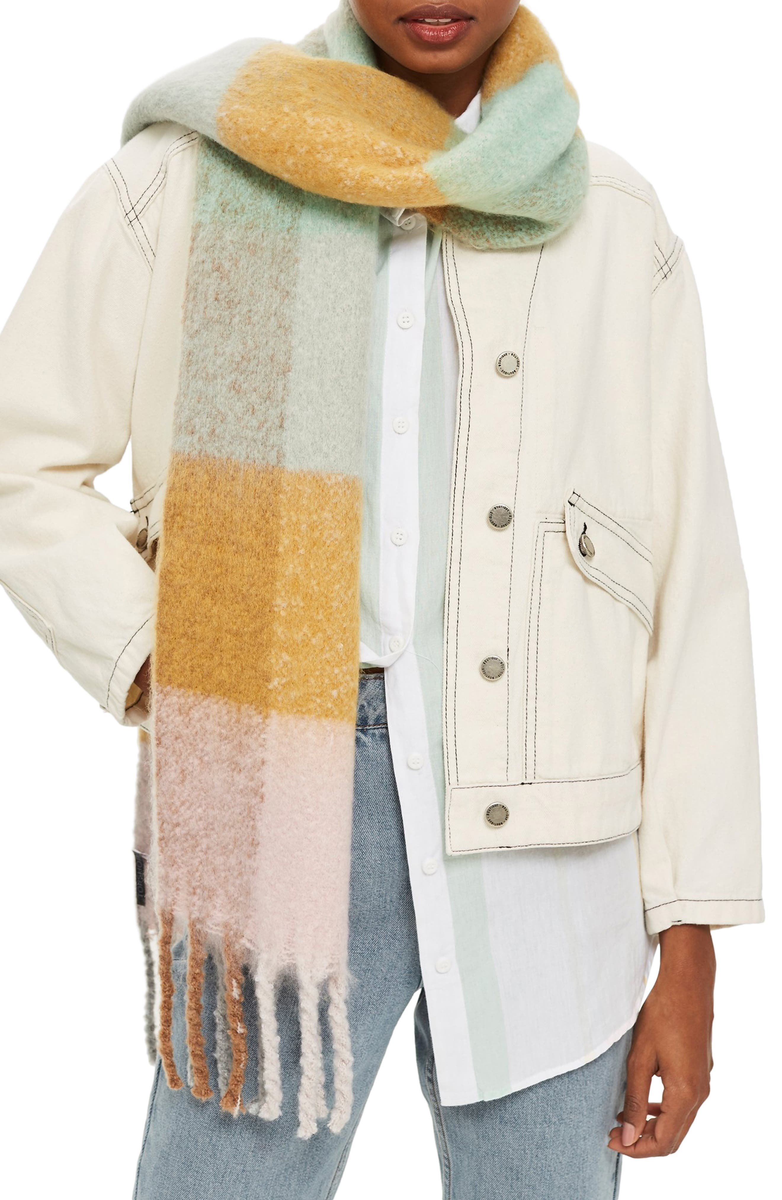 Heavy Gingham Scarf,                         Main,                         color, MINT MULTI
