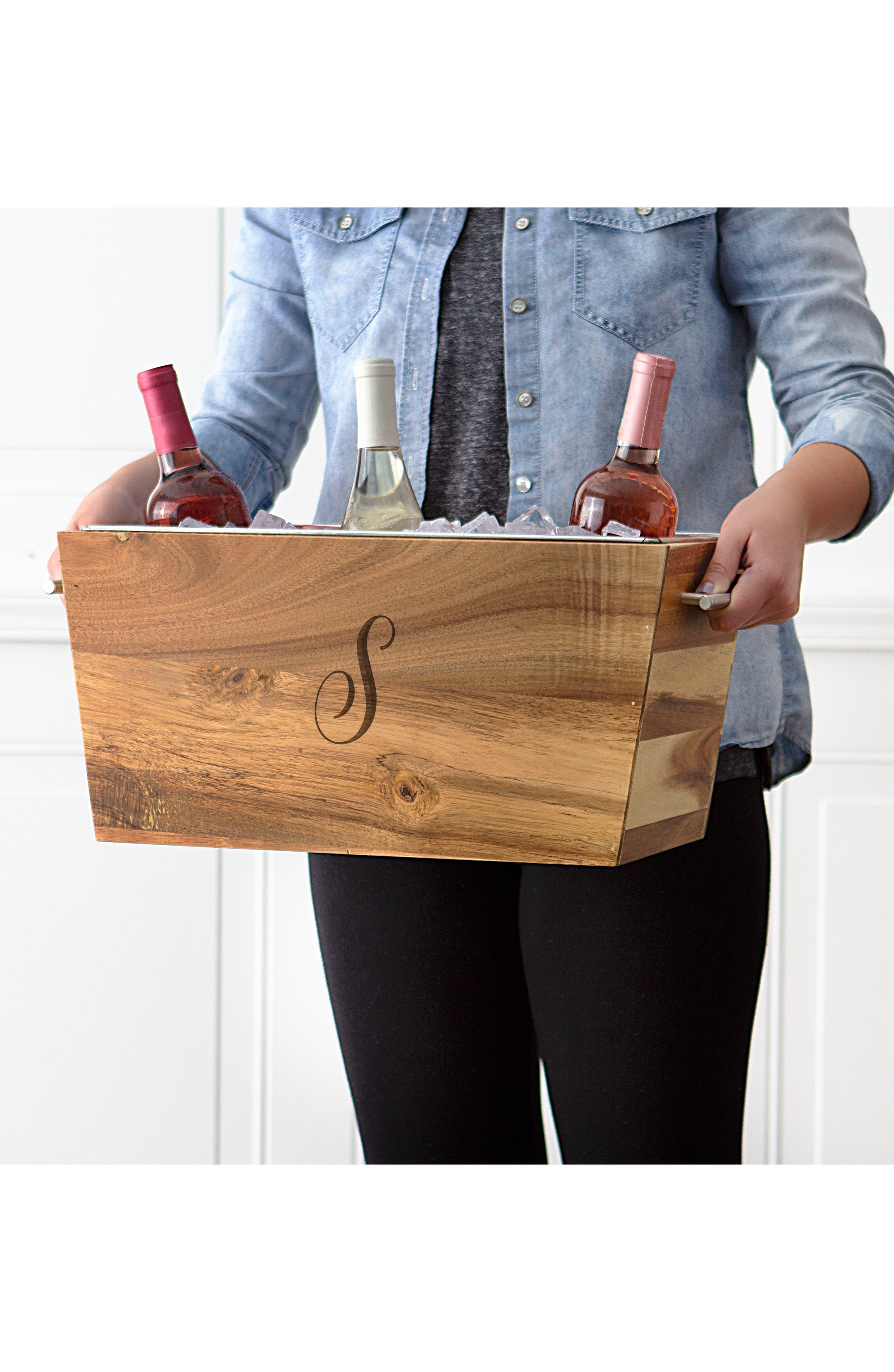 Monogram Wood Wine Trough,                             Alternate thumbnail 7, color,                             BROWN
