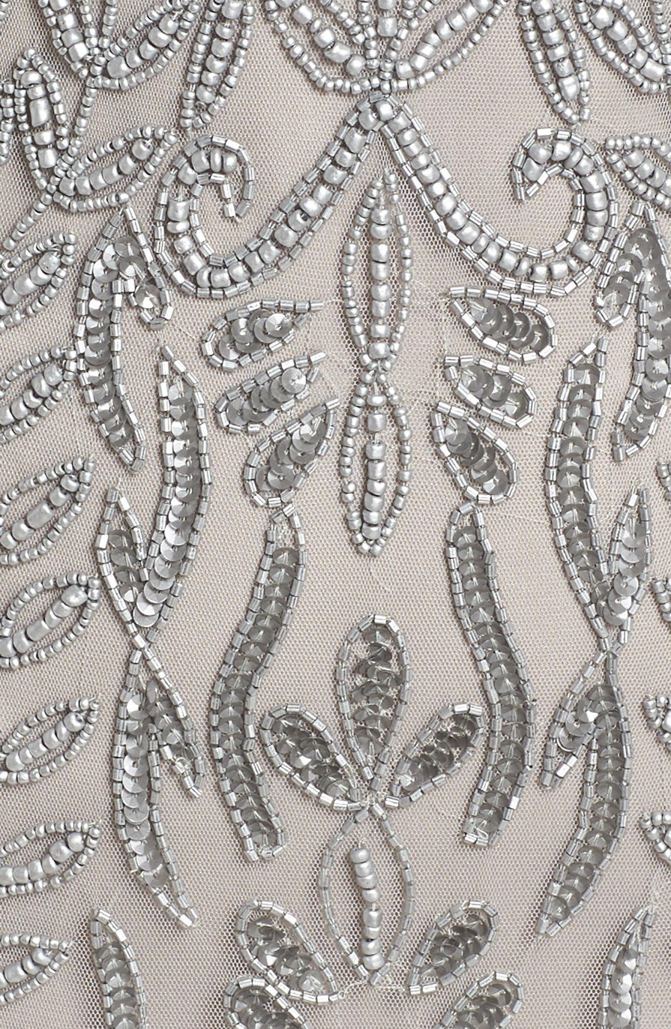 Beaded Sheath Dress,                             Alternate thumbnail 5, color,                             SILVER