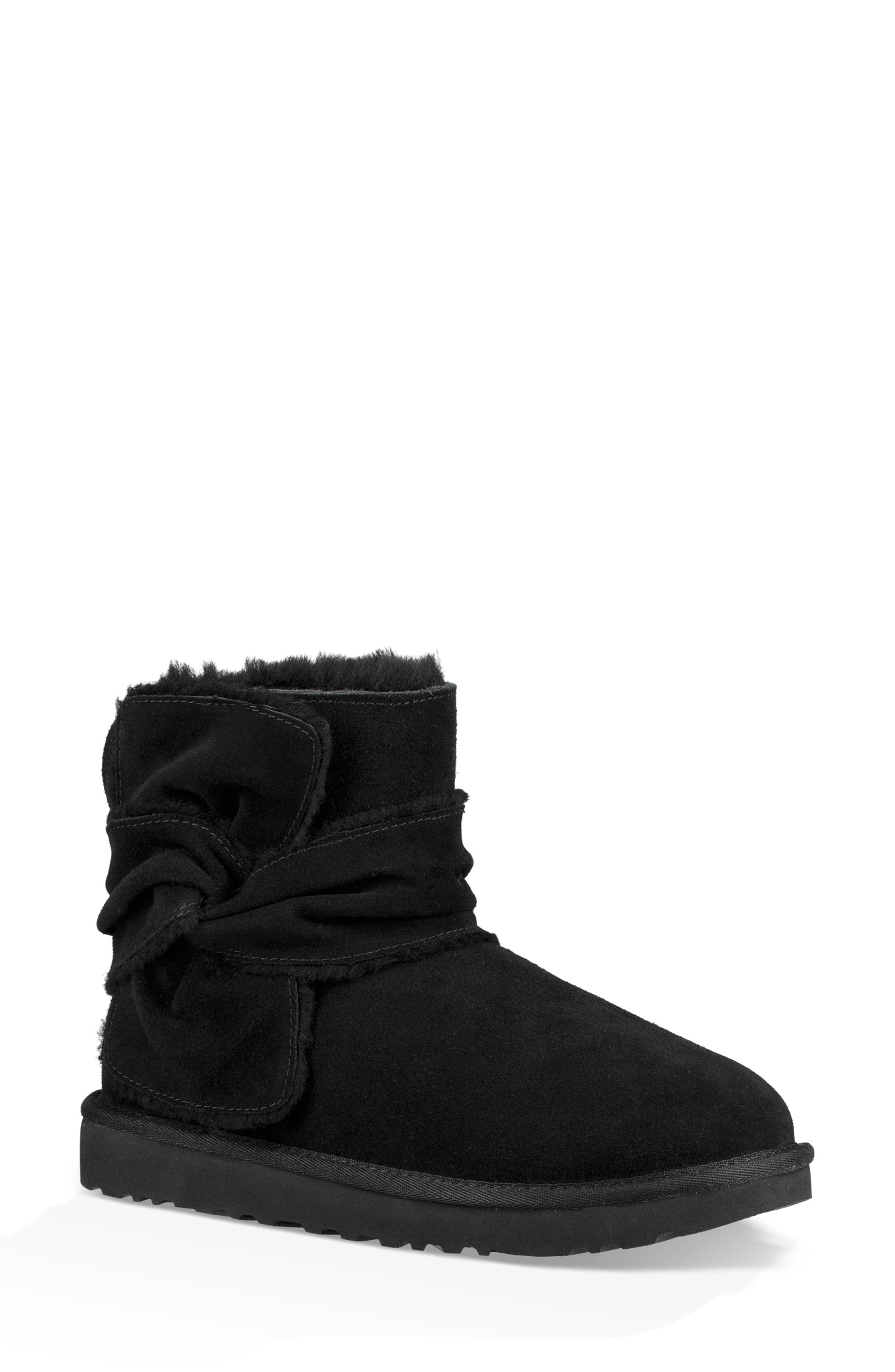 UGG<SUP>®</SUP> Mini Bow Spill Seam Bootie, Main, color, 001