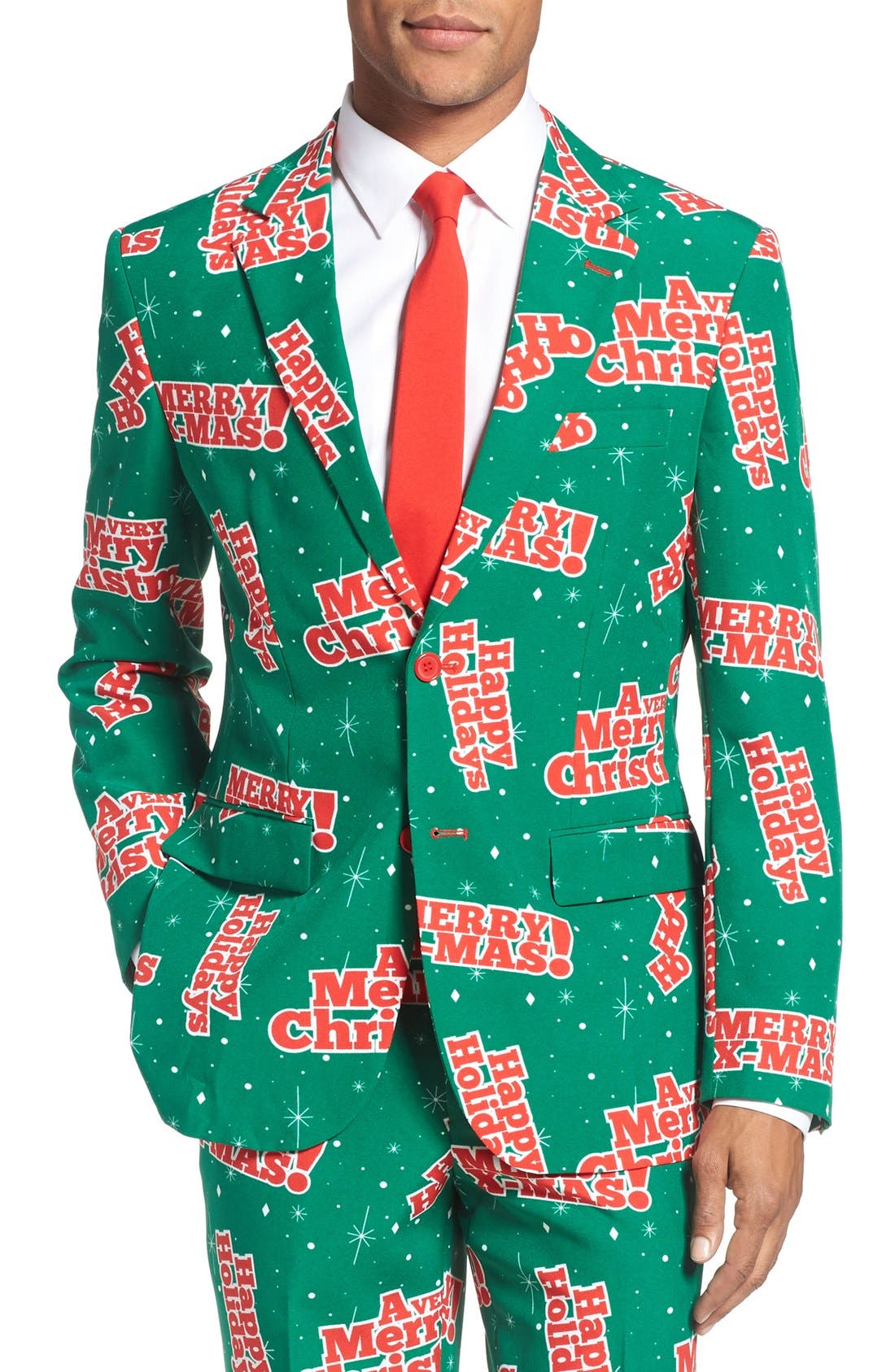 'Happy Holidude' Trim Fit Two-Piece Suit with Tie,                             Alternate thumbnail 5, color,                             301