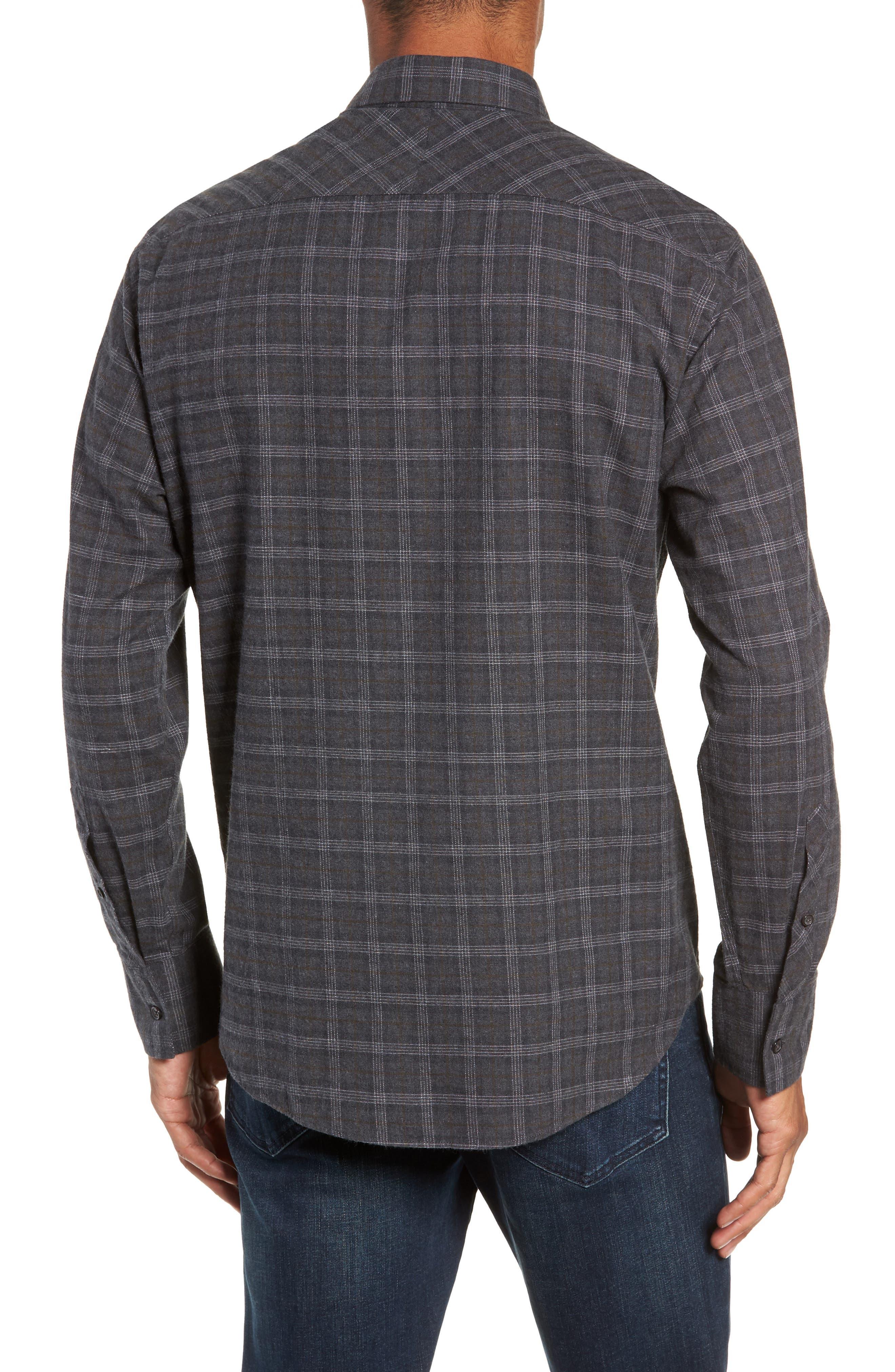 Walland Regular Fit Plaid Sport Shirt,                             Alternate thumbnail 2, color,                             DARK GREY
