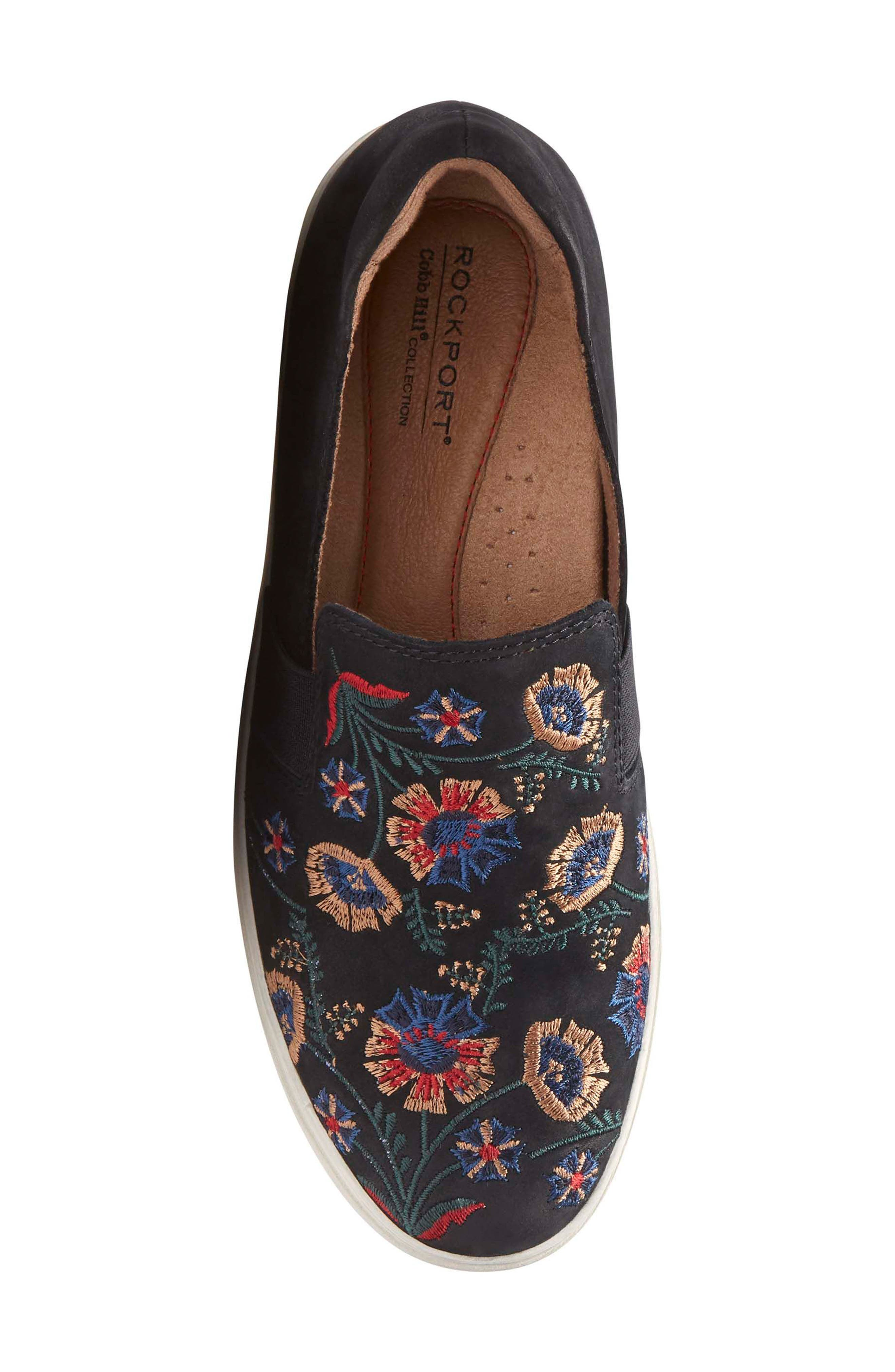 Cobb Hill Flower Embroidered Slip-On Sneaker,                             Alternate thumbnail 5, color,                             BLACK NUBUCK