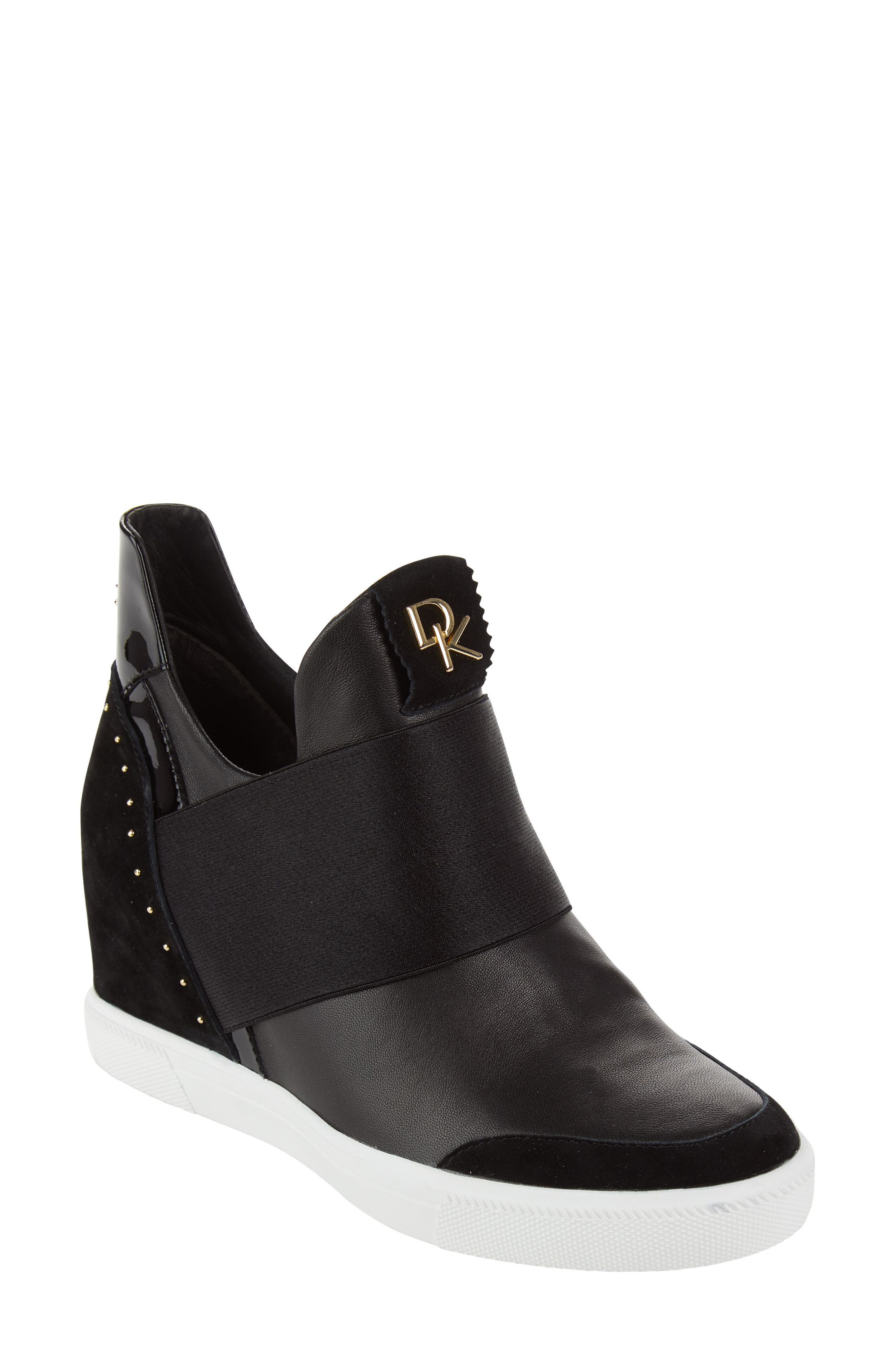 Donna Karan Cailin Studded Wedge Sneaker,                         Main,                         color, BLACK LEATHER