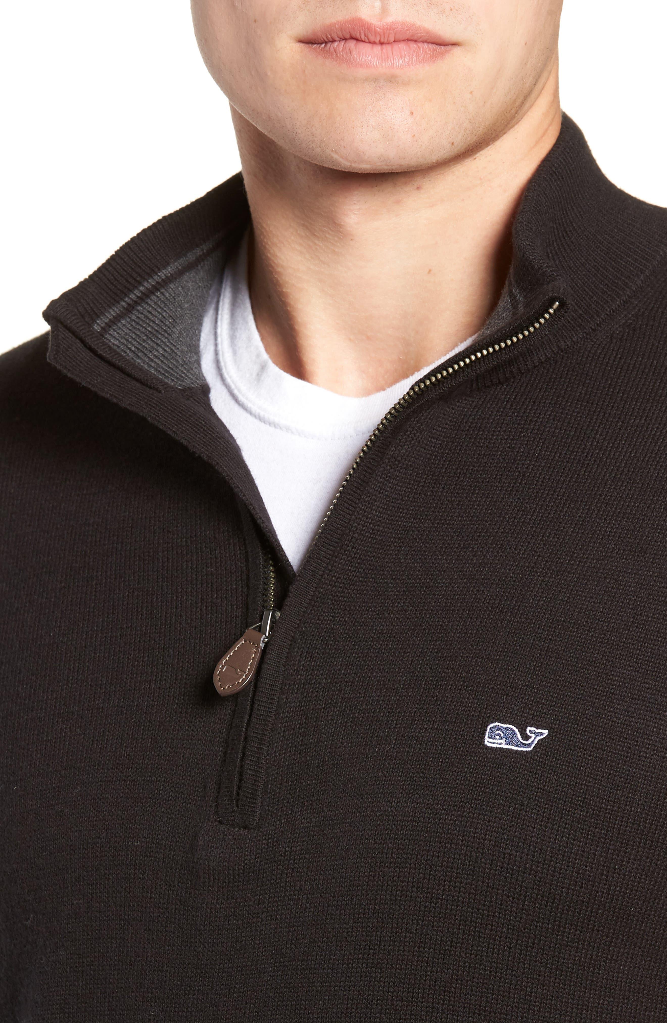 Palm Beach Quarter-Zip Sweater,                             Alternate thumbnail 4, color,                             JET BLACK