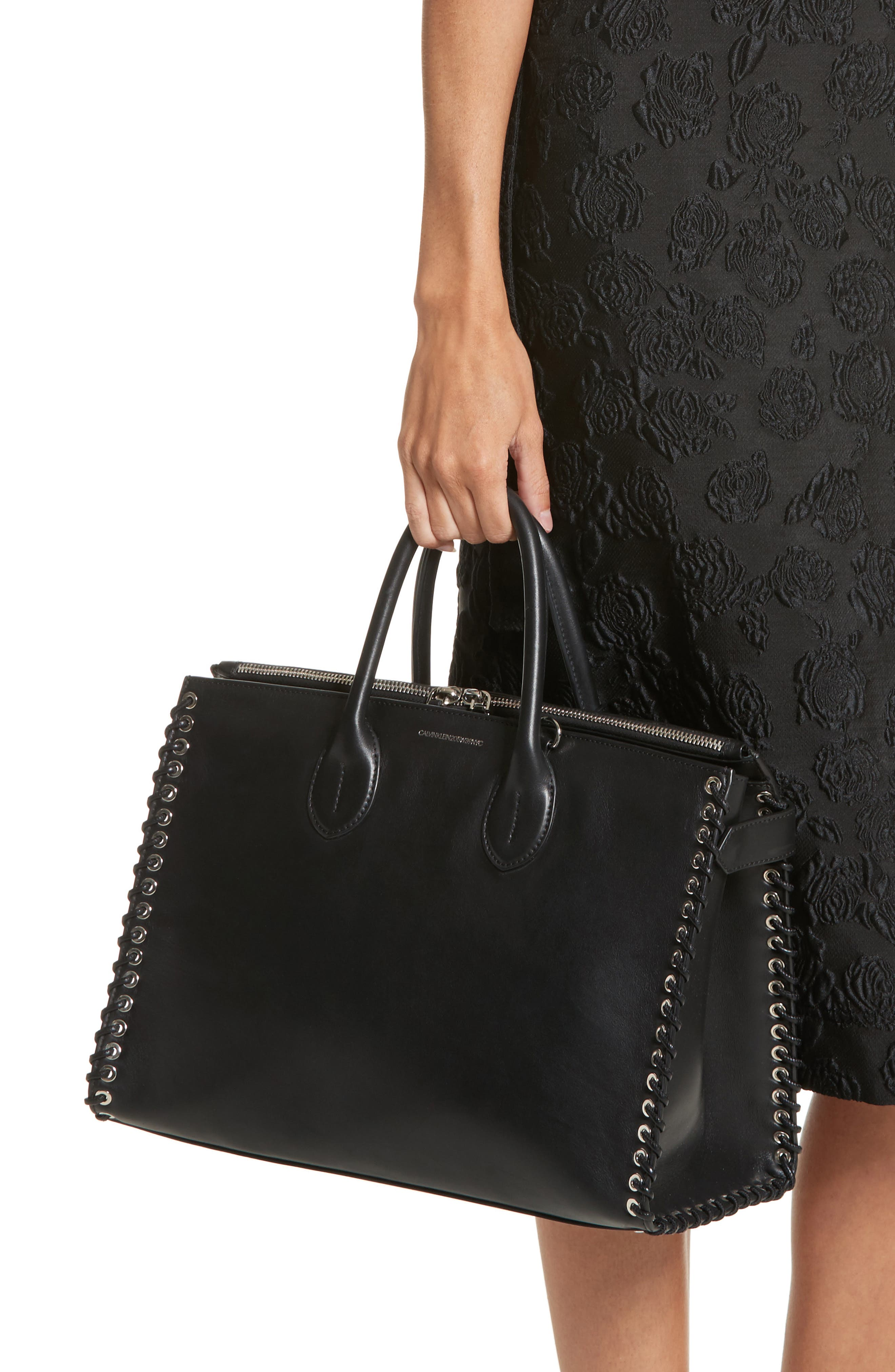 Large Whipstitch Calfskin Tote,                             Alternate thumbnail 2, color,                             001